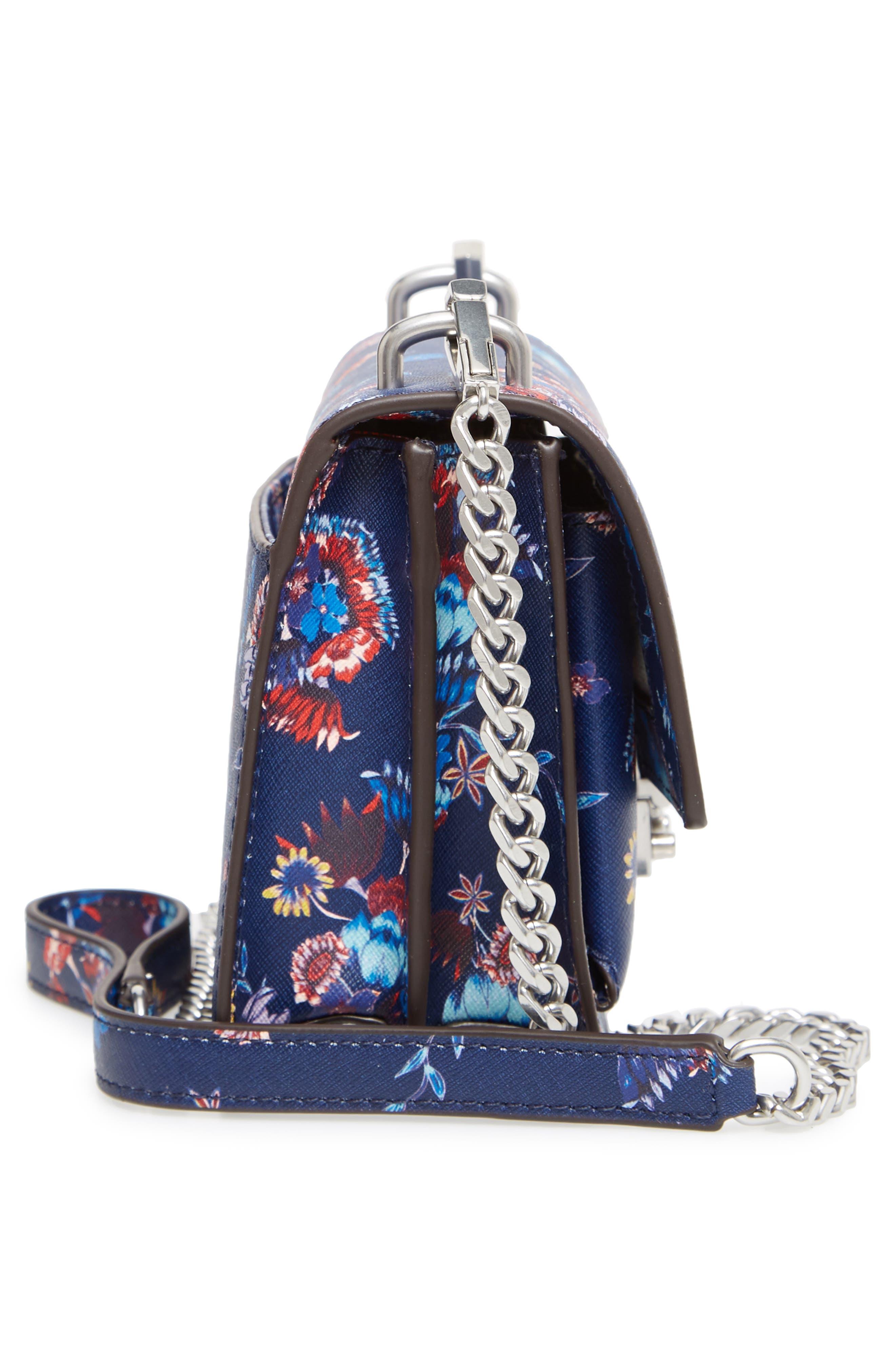 Small Christy Print Leather Shoulder Bag,                             Alternate thumbnail 5, color,                             Floral Blue