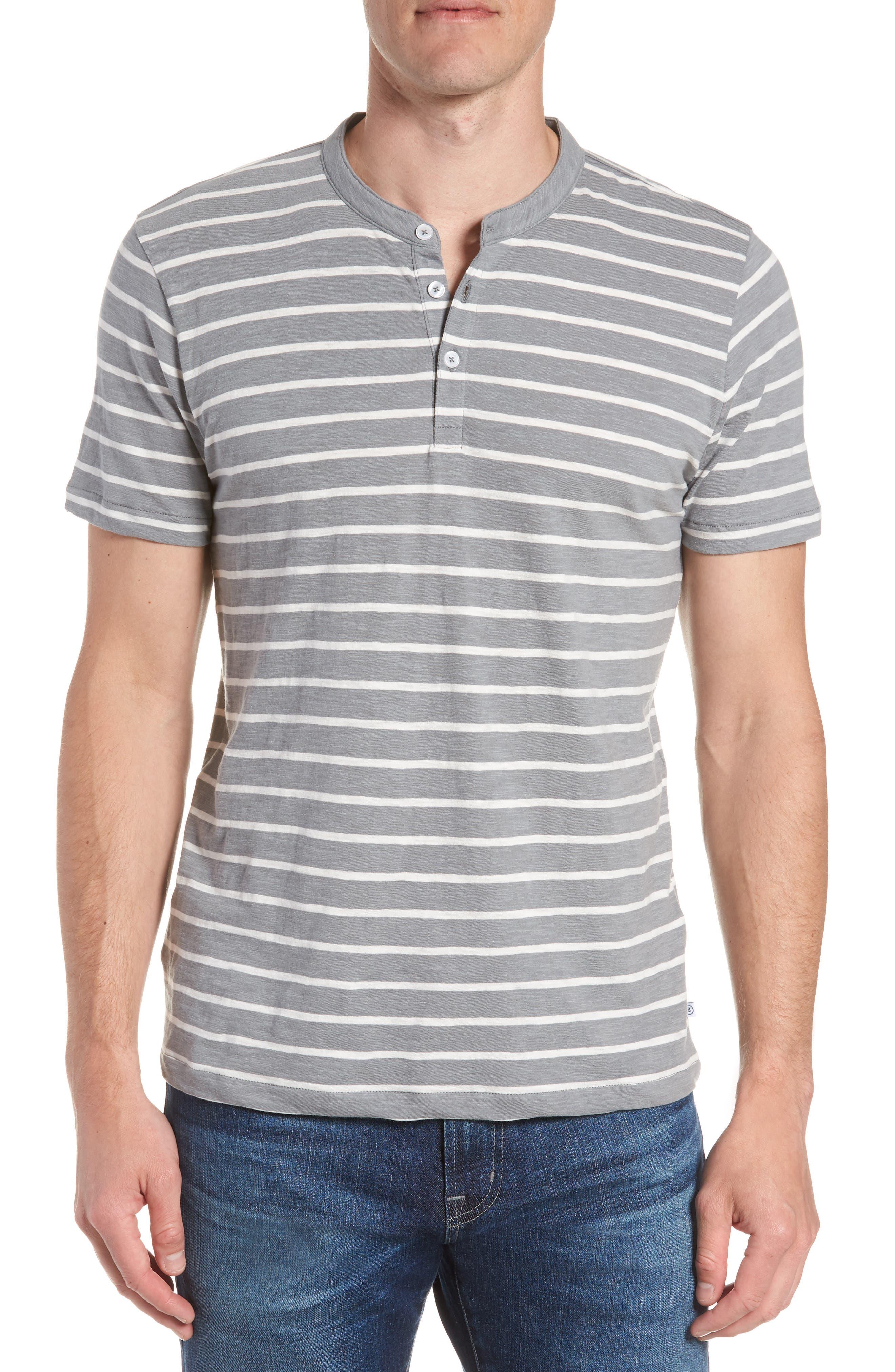 Slim Fit Stripe Henley T-Shirt,                         Main,                         color, Sterling/ Seashell