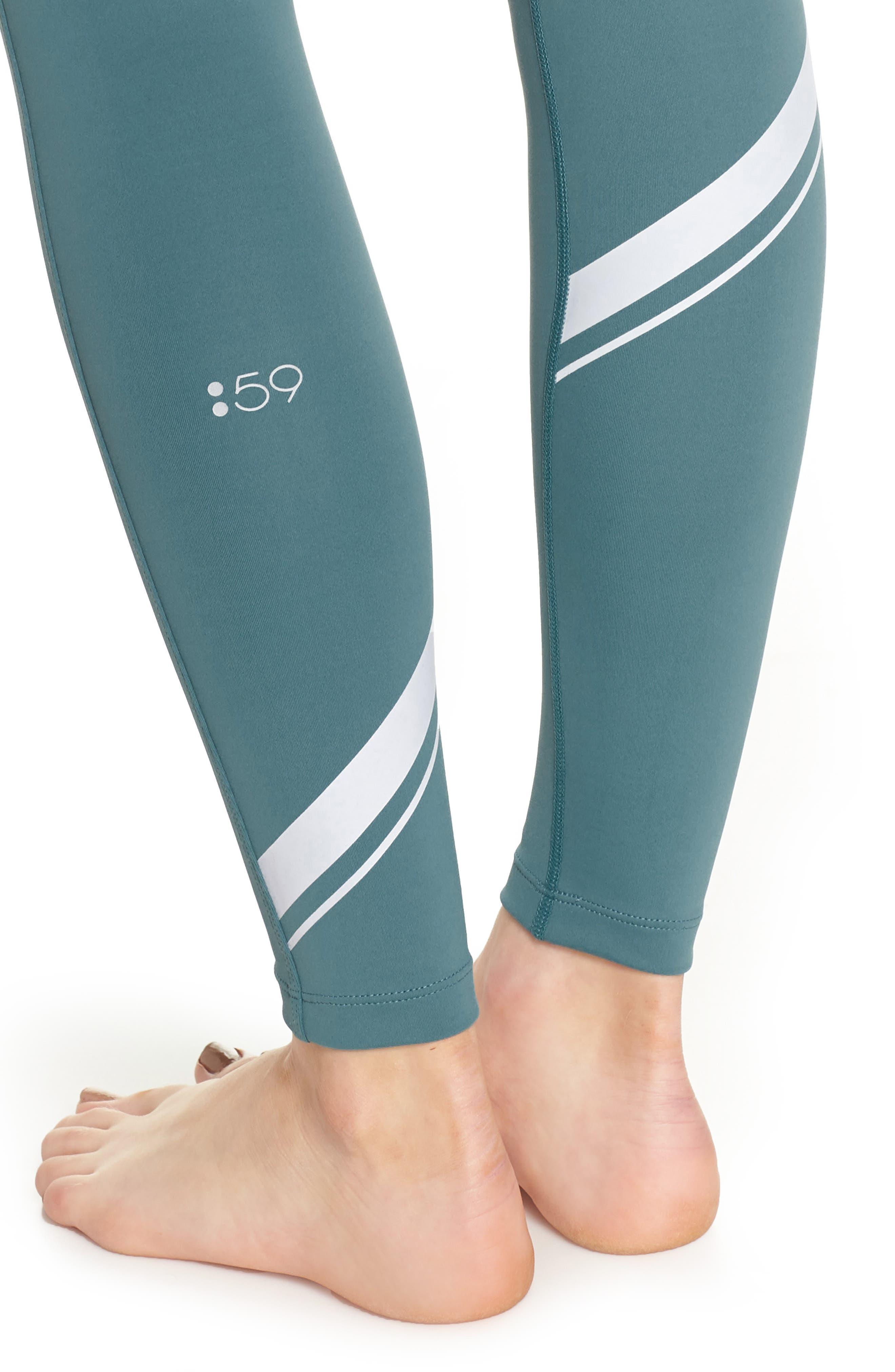 Horizon Ankle Leggings,                             Alternate thumbnail 4, color,                             Blue Surf/ Off White