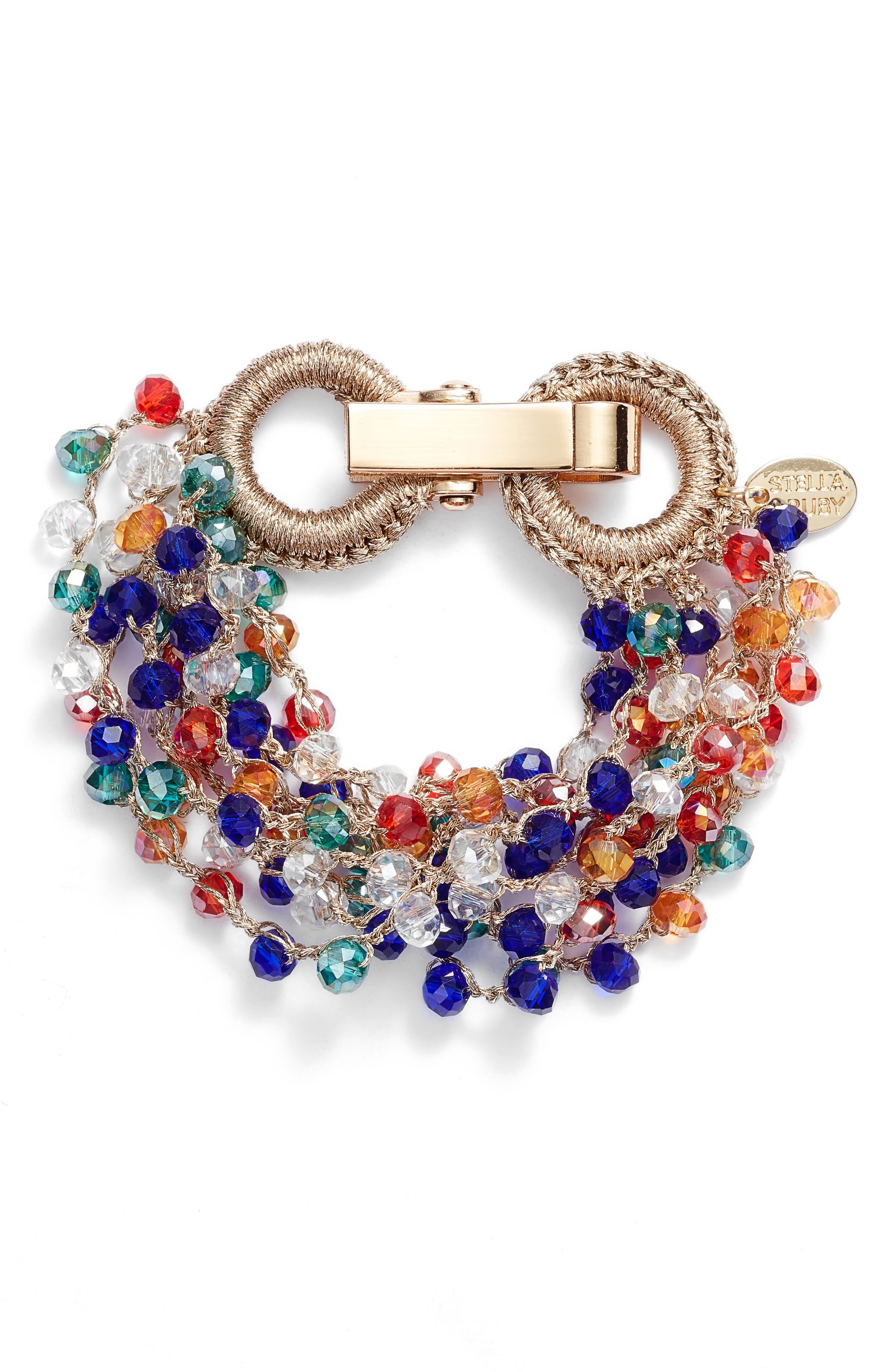 Crochet Beaded Bracelet,                             Main thumbnail 1, color,                             Gold/ Multi