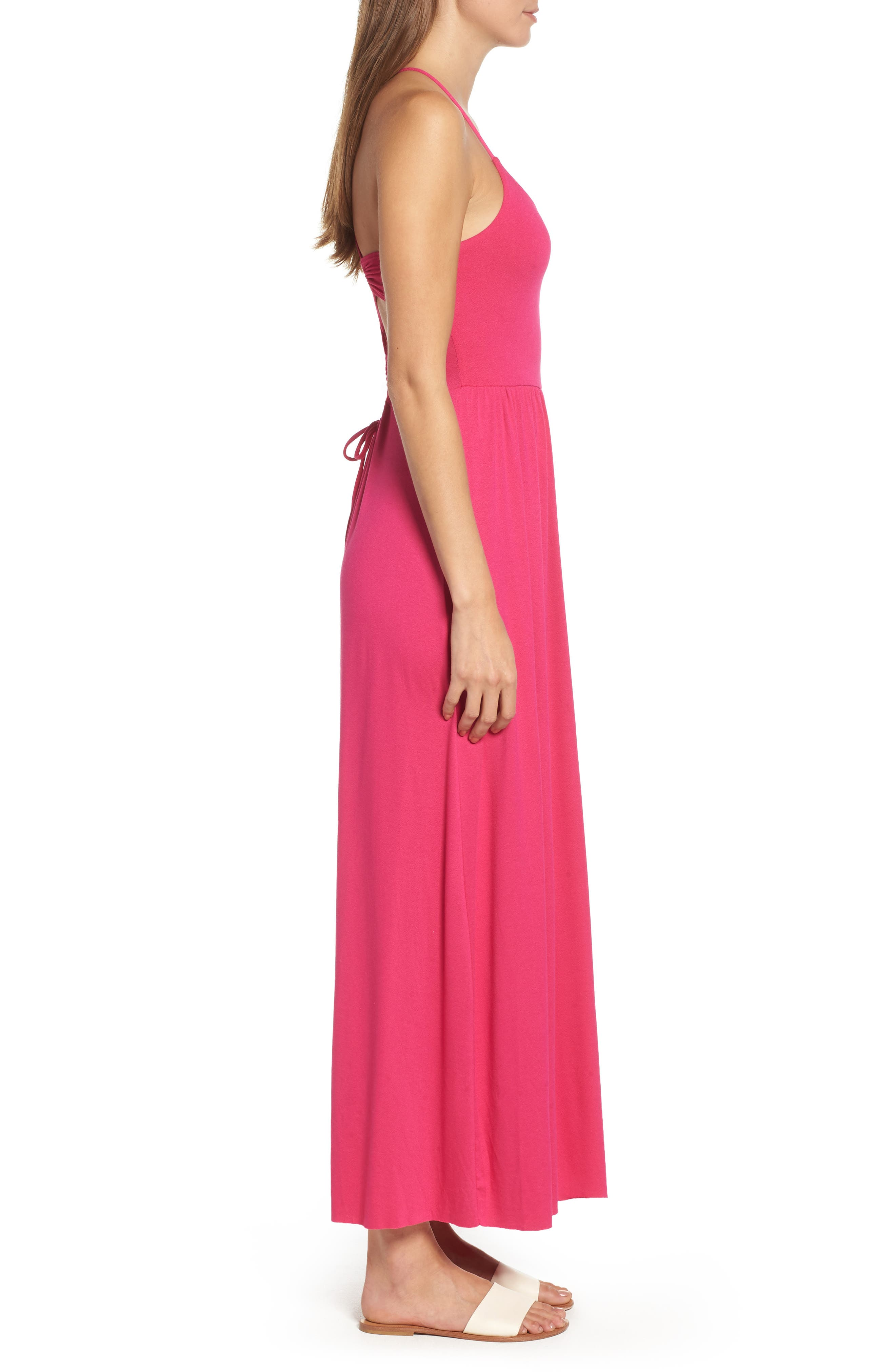 Strappy Back Maxi Dress,                             Alternate thumbnail 3, color,                             Wild Pink