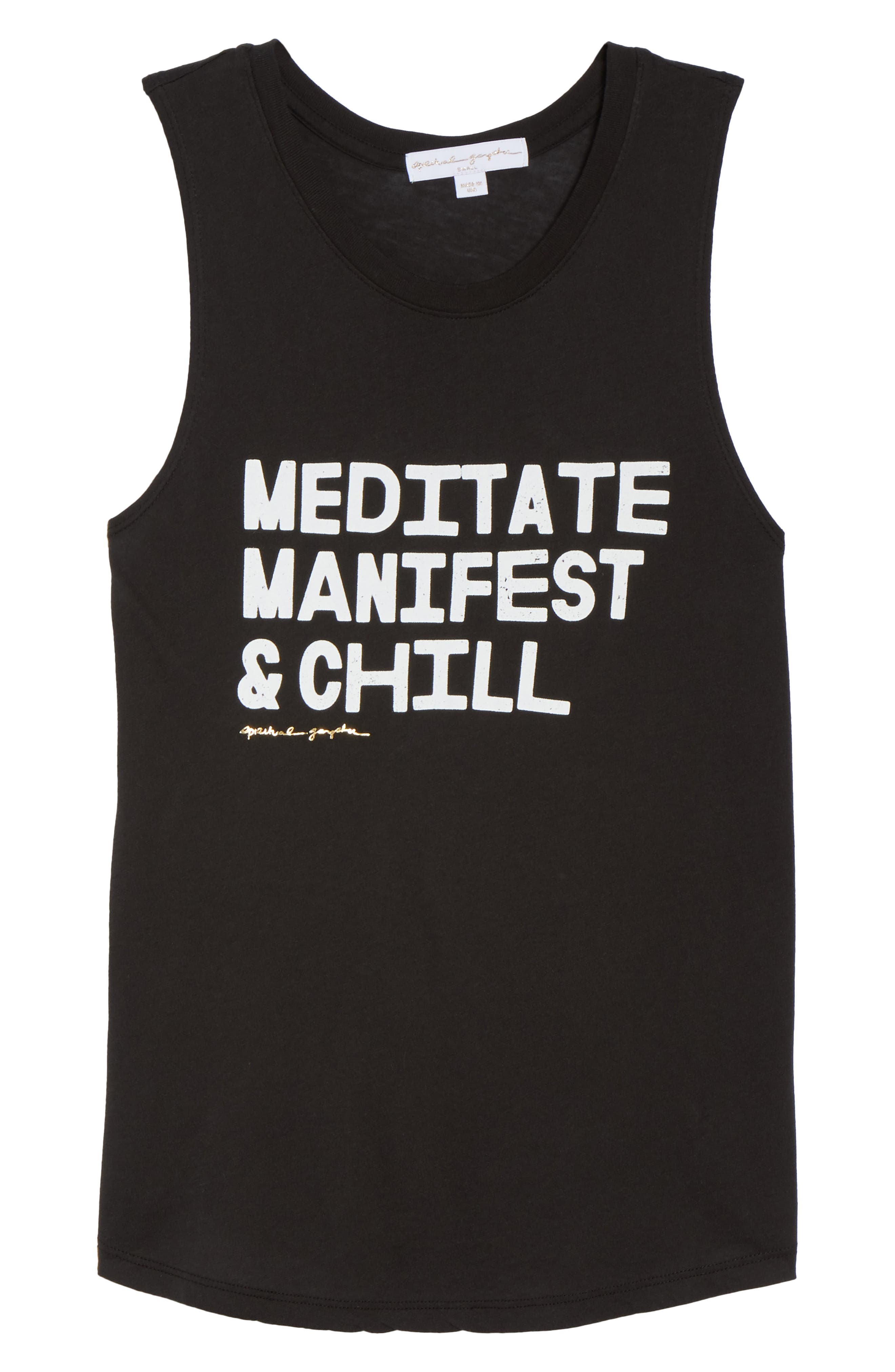 Meditate, Manifest & Chill Muscle Tee,                             Alternate thumbnail 6, color,                             Vntg Black