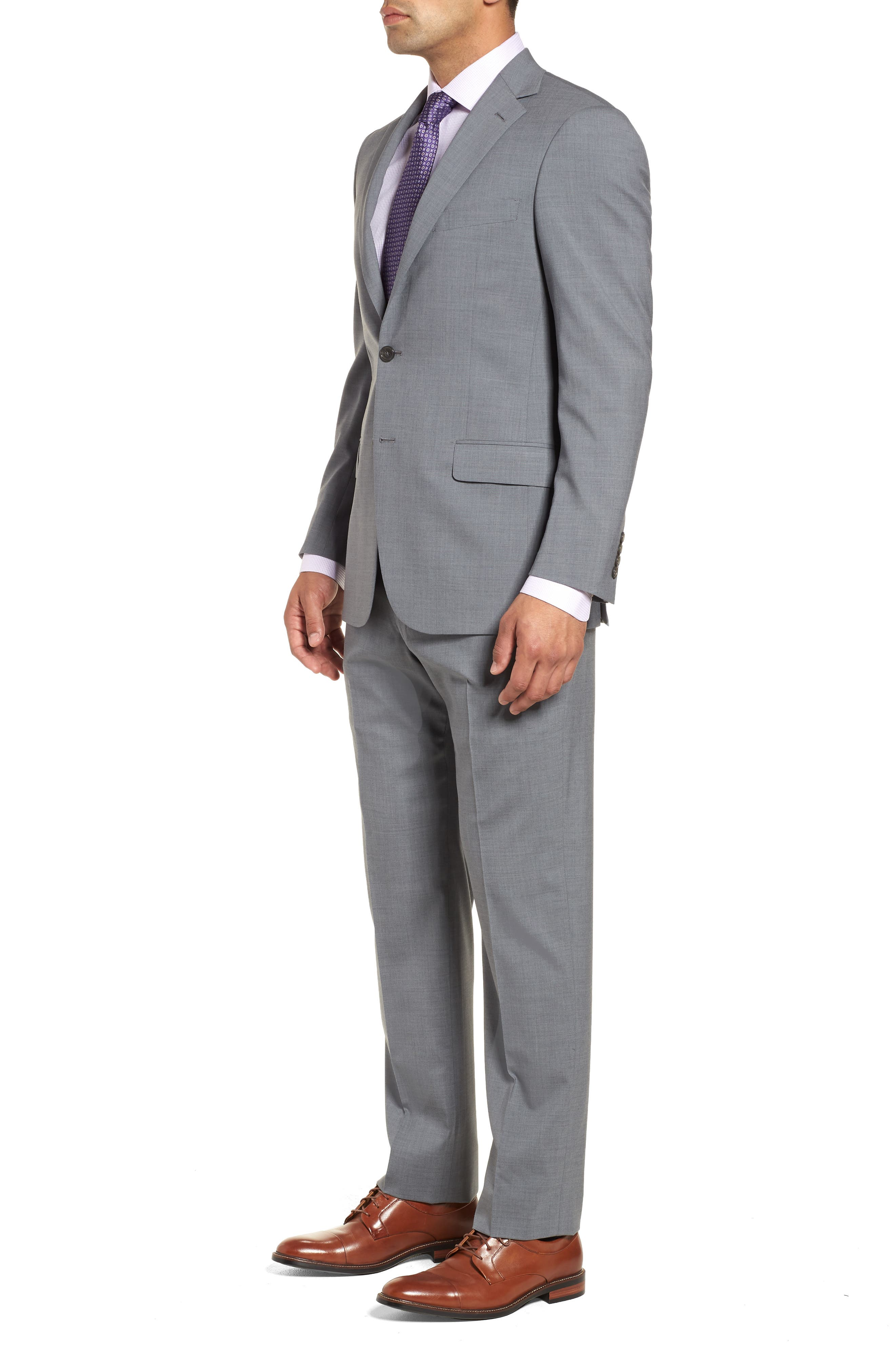 Classic Fit Solid Stretch Wool Suit,                             Alternate thumbnail 3, color,                             Grey