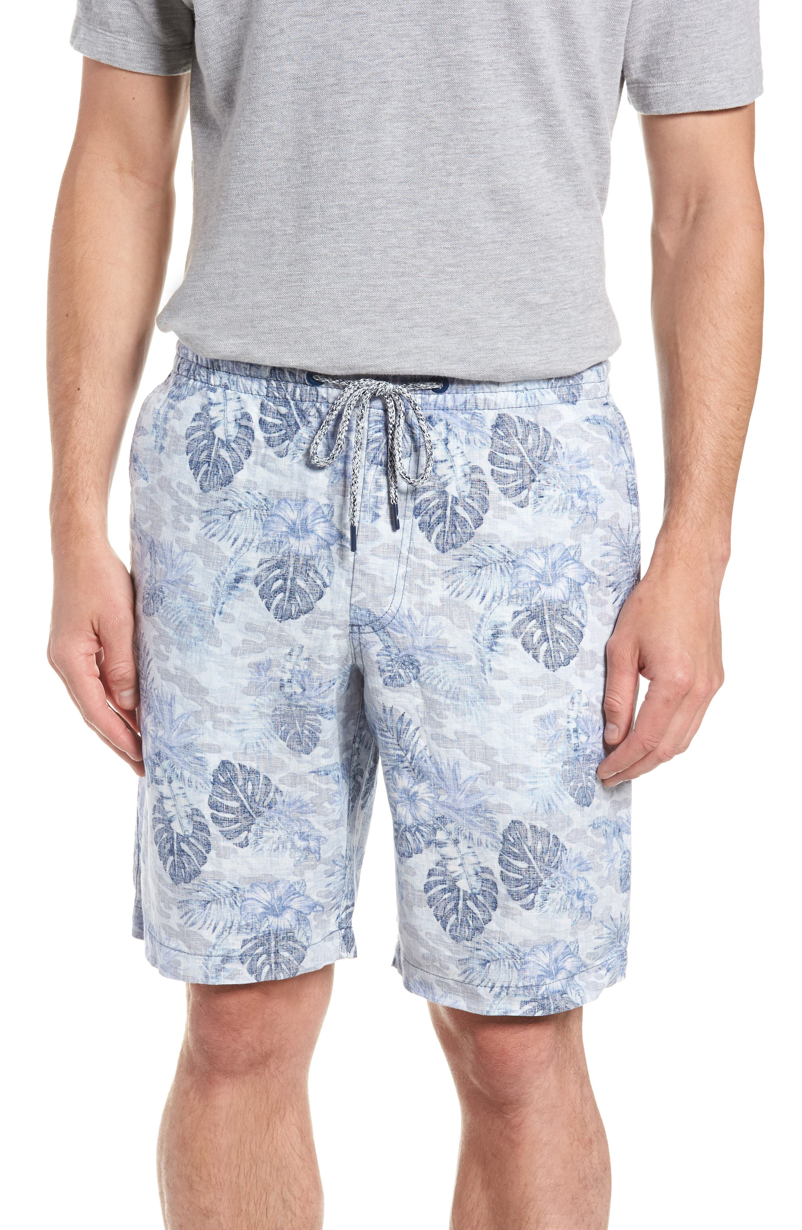 Tidal Palms Linen Shorts,                             Main thumbnail 1, color,                             Med Sky Blue