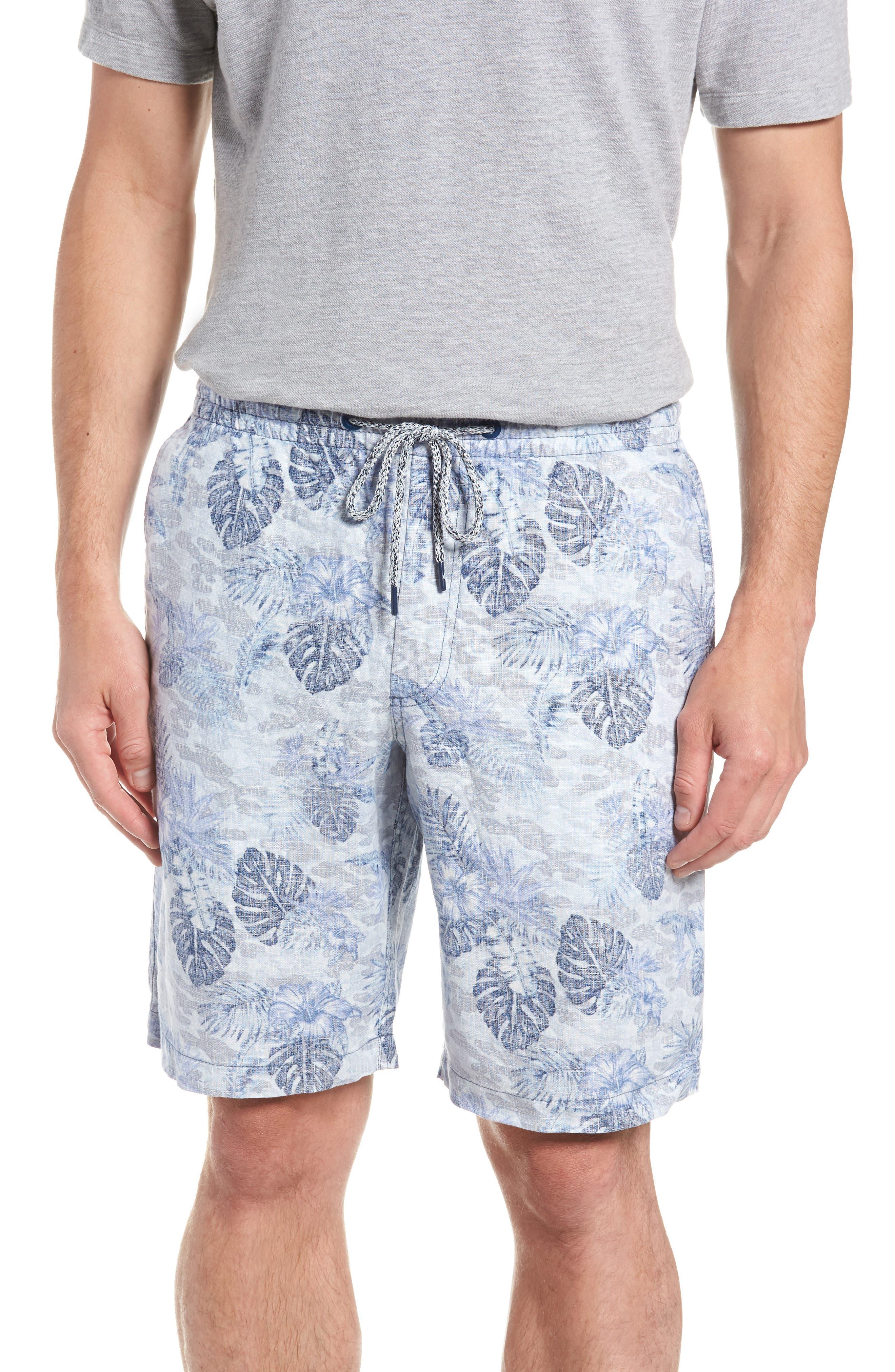 Tidal Palms Linen Shorts,                         Main,                         color, Med Sky Blue