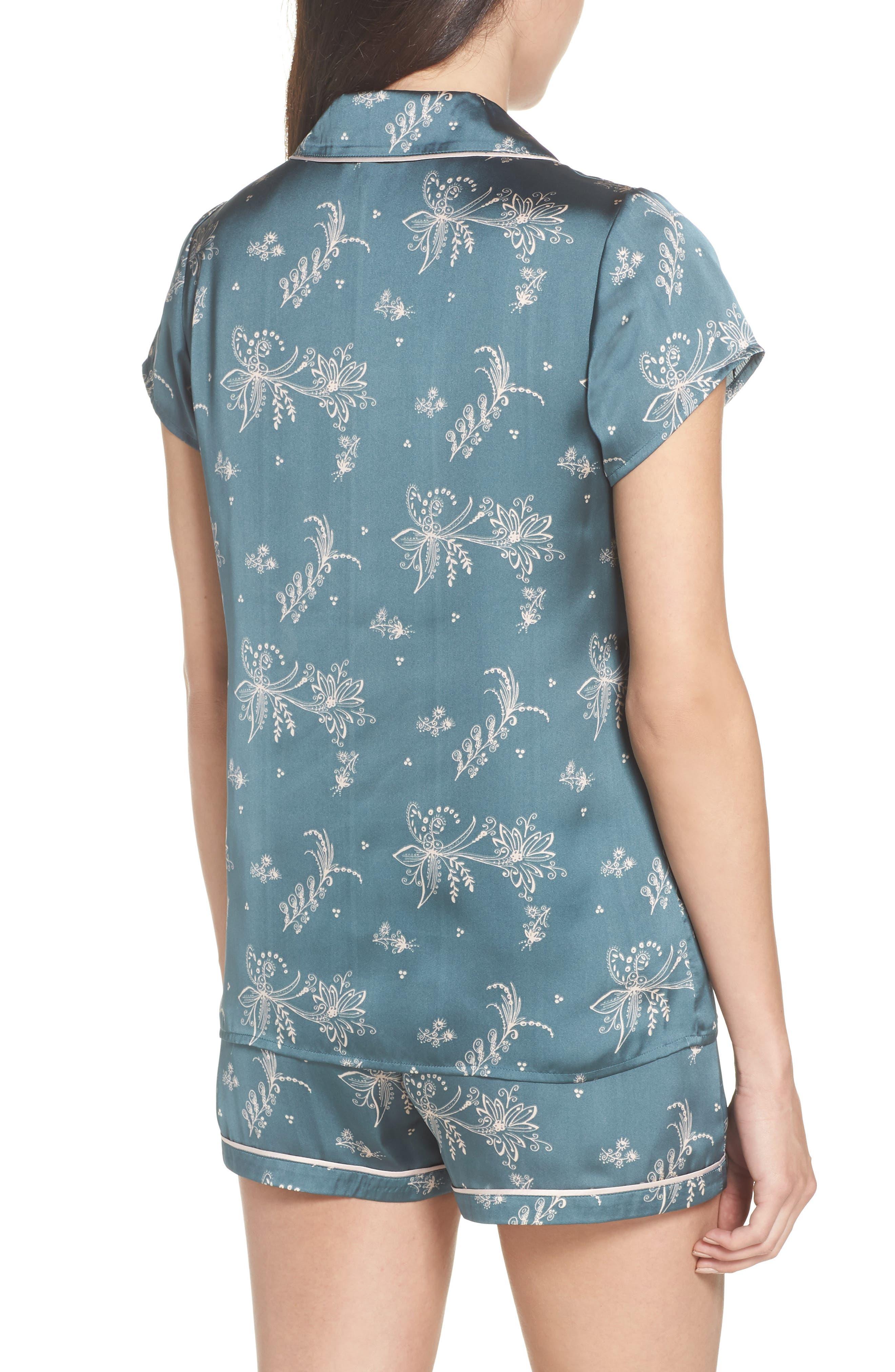 Satin Pajamas,                             Alternate thumbnail 2, color,                             Blue Goblin Flirty Floral