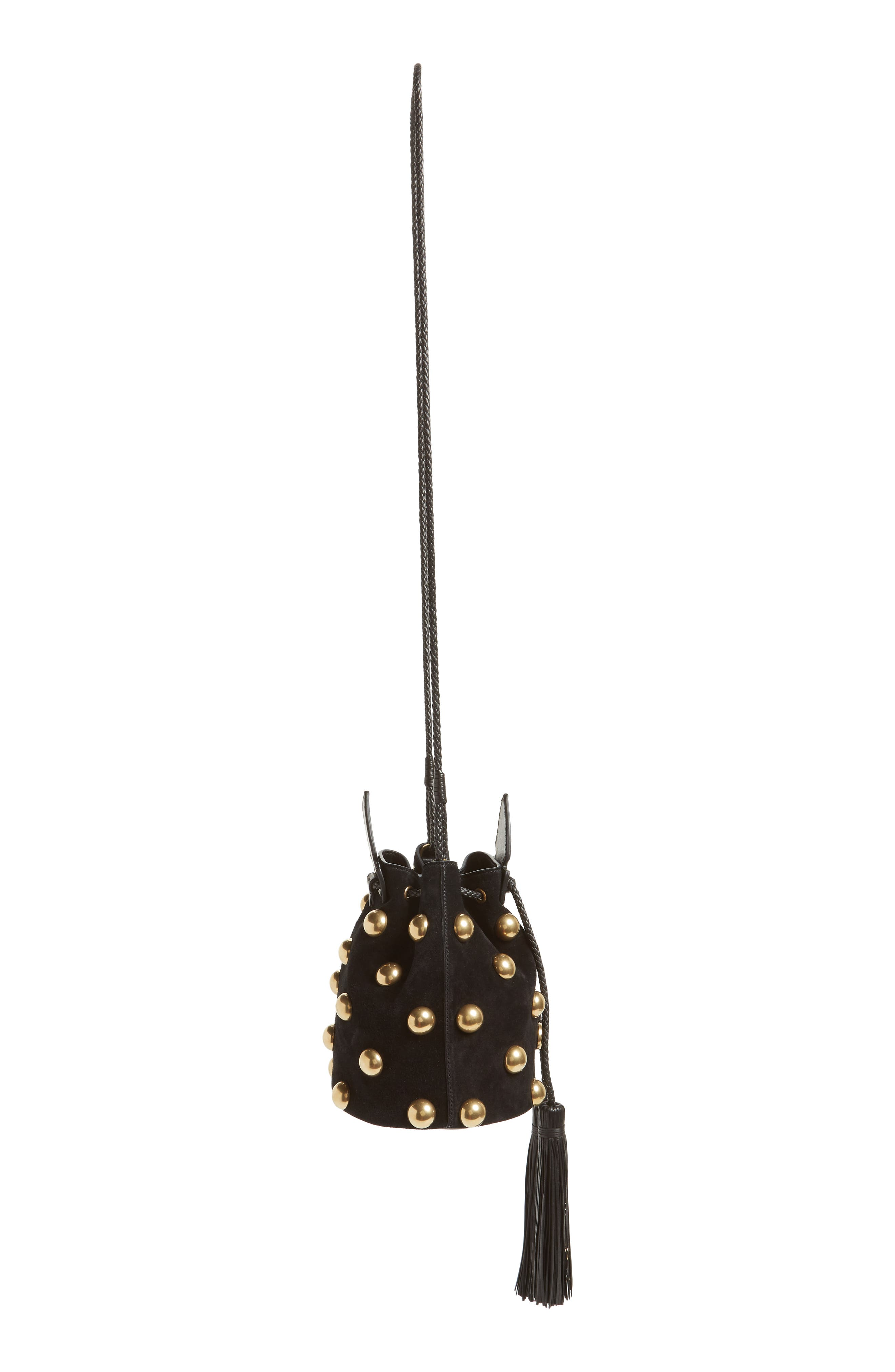 Small Anja Studded Leather Bucket Bag,                             Alternate thumbnail 5, color,                             Nero/ Nero