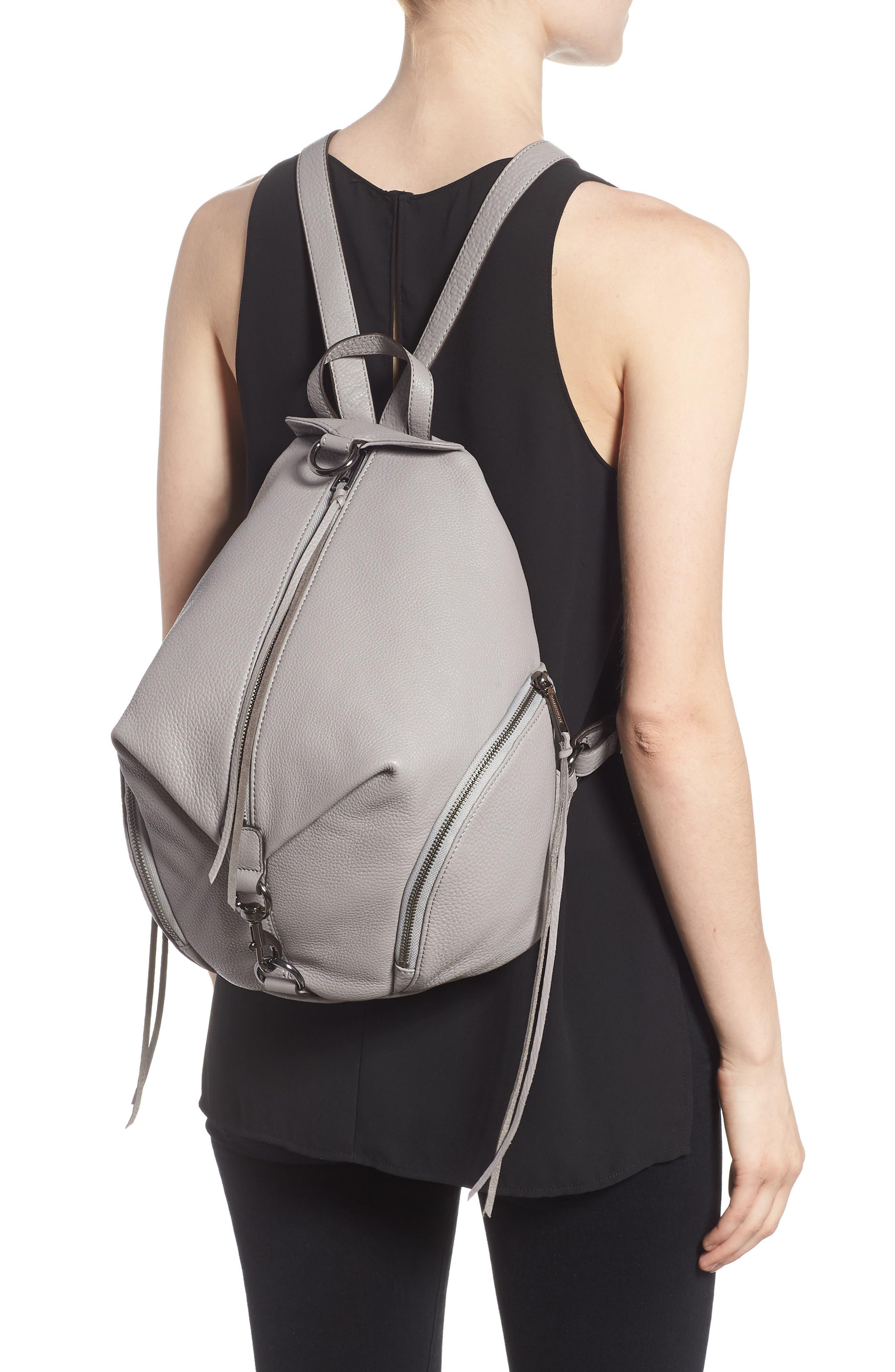Julian Pebbled Leather Backpack,                             Alternate thumbnail 2, color,                             Grey