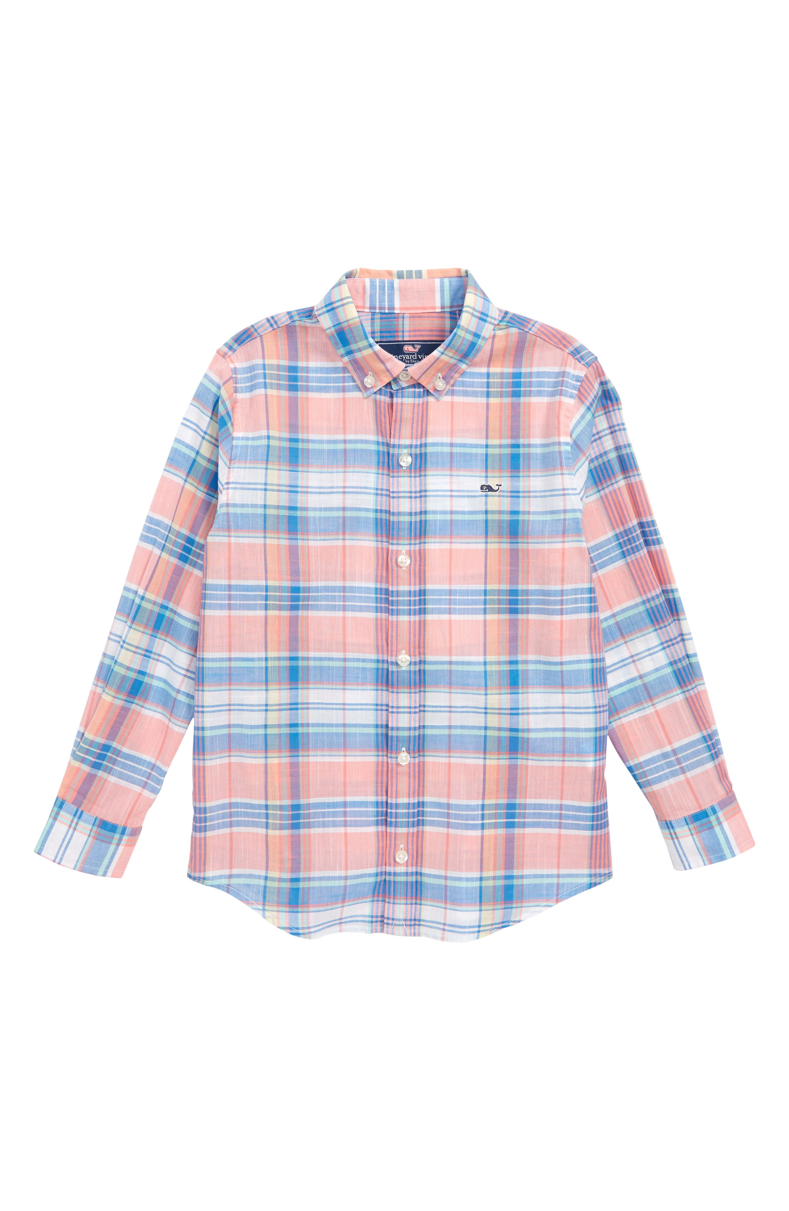 Smith Point Plaid Whale Shirt,                             Main thumbnail 1, color,                             Washed Neon Pink