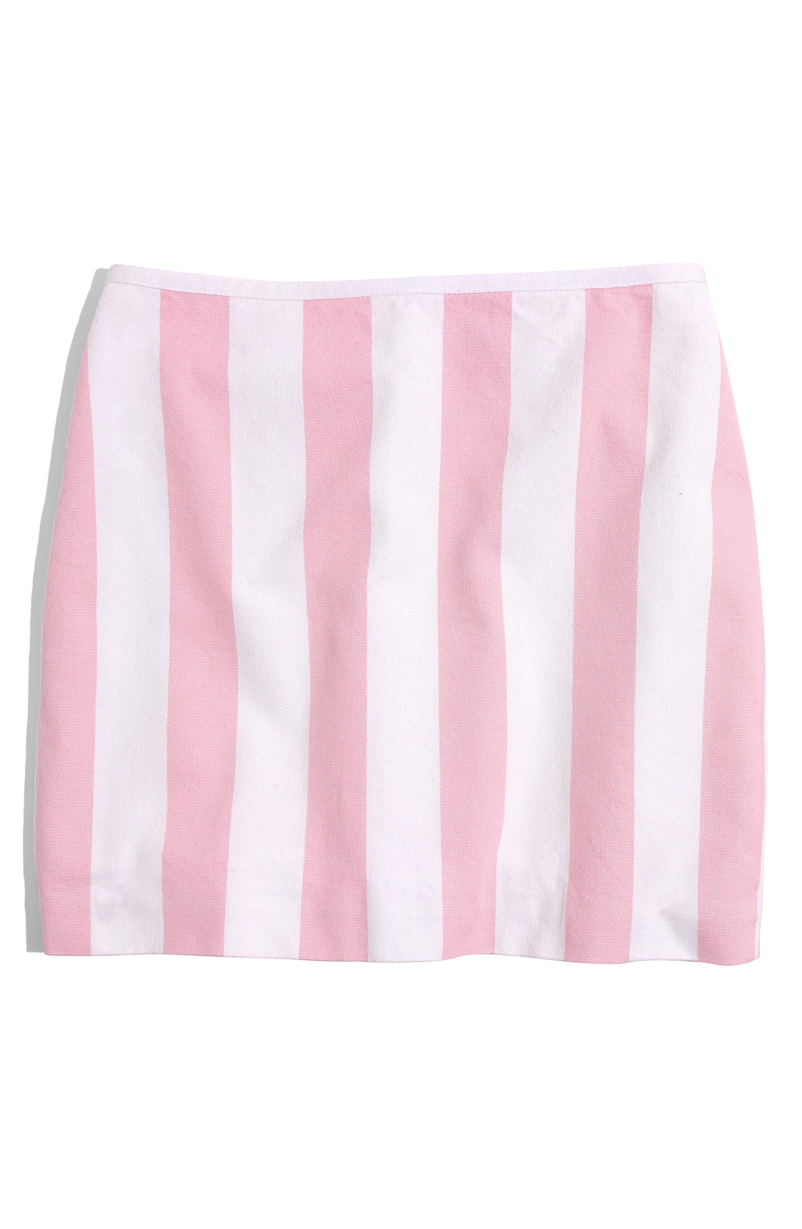 Gamine Stripe Miniskirt,                             Alternate thumbnail 2, color,                             Petal Pink