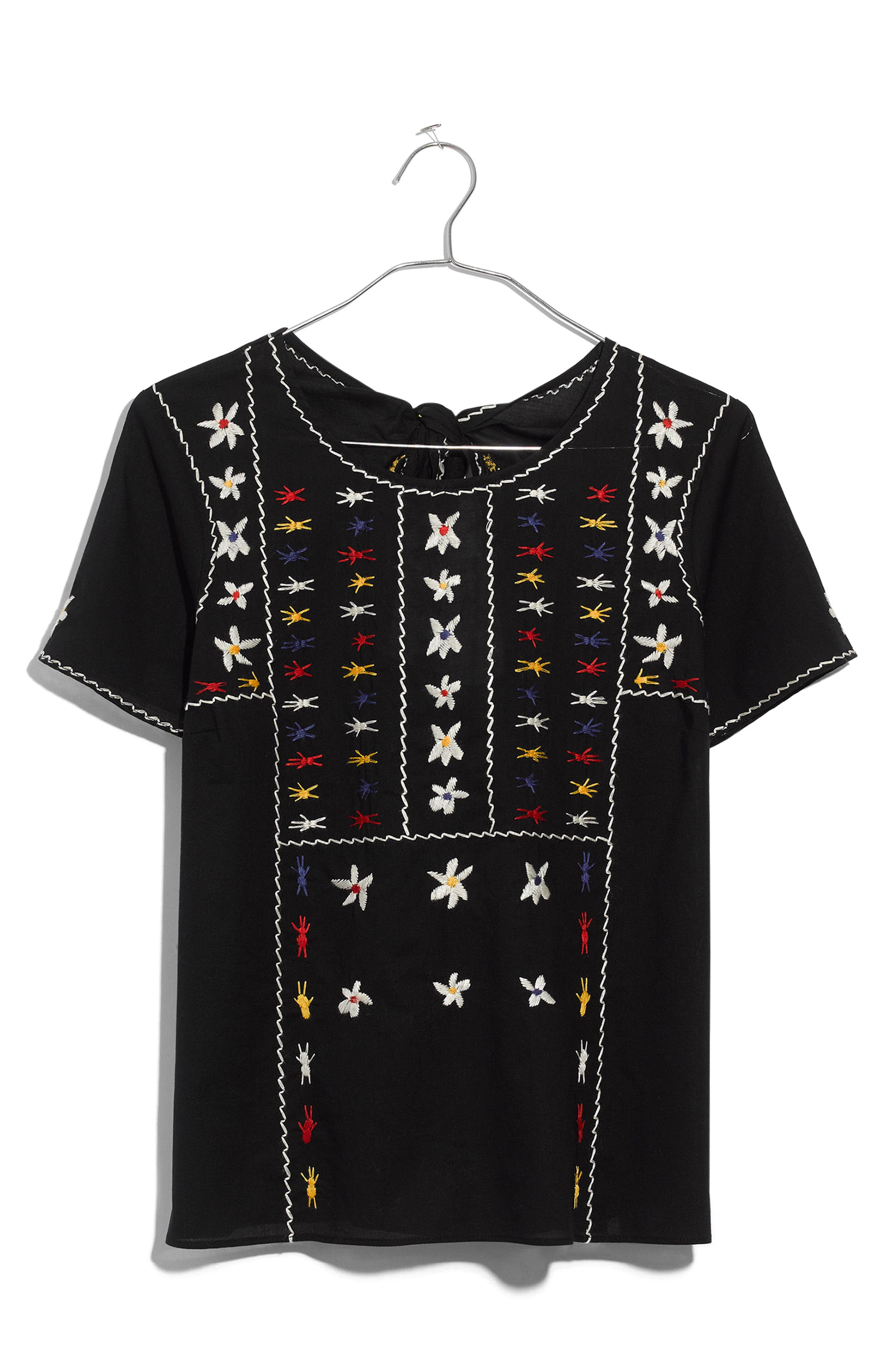 Embroidered Tie Back Cutout Top,                             Alternate thumbnail 3, color,                             True Black