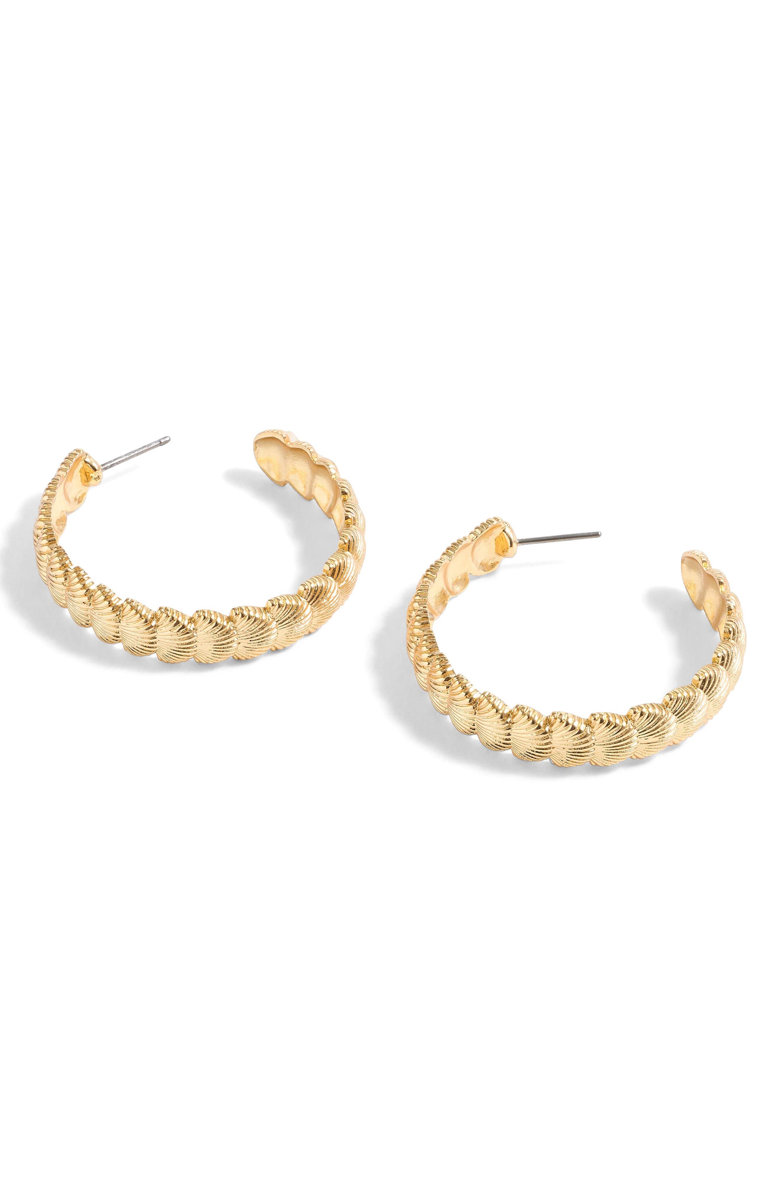 Seashell Hoop Earrings,                         Main,                         color, Burnished Gold