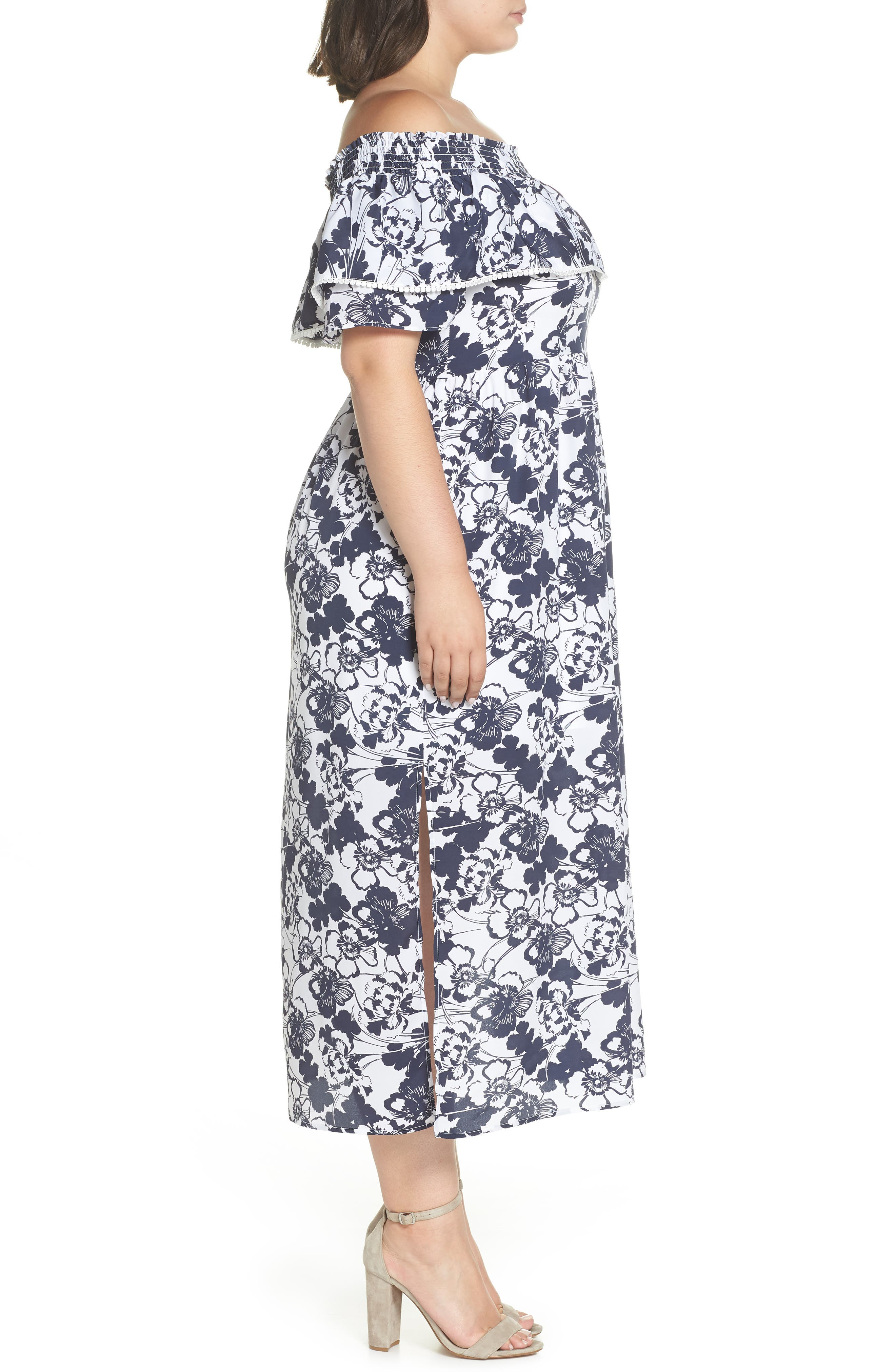 Off the Shoulder Ruffle Maxi Dress,                             Alternate thumbnail 10, color,                             Navy Ivory Floral Print