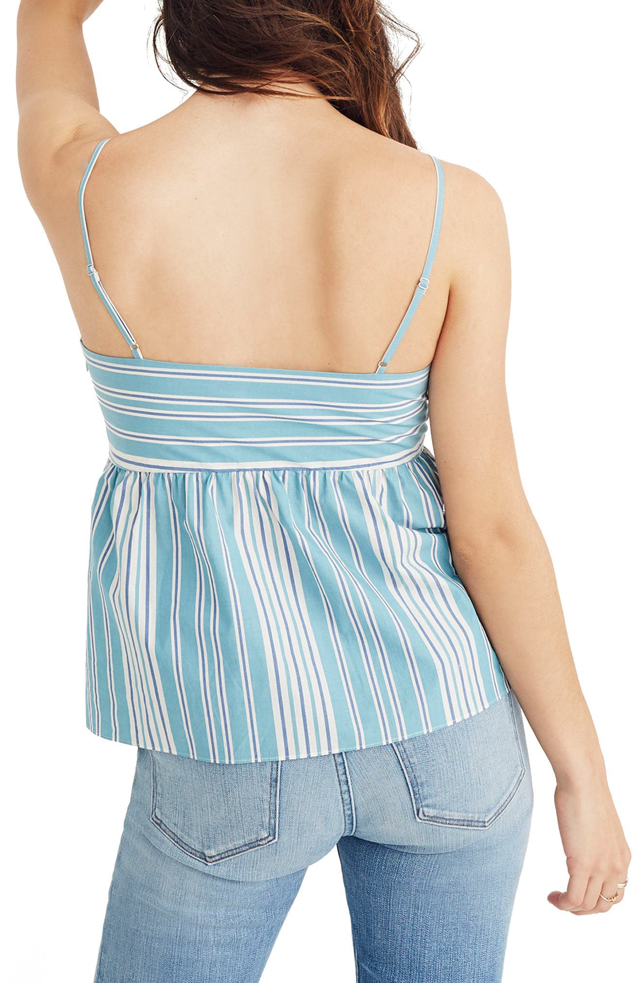 Stripe Tie Front Keyhole Camisole,                             Alternate thumbnail 2, color,                             White Wash