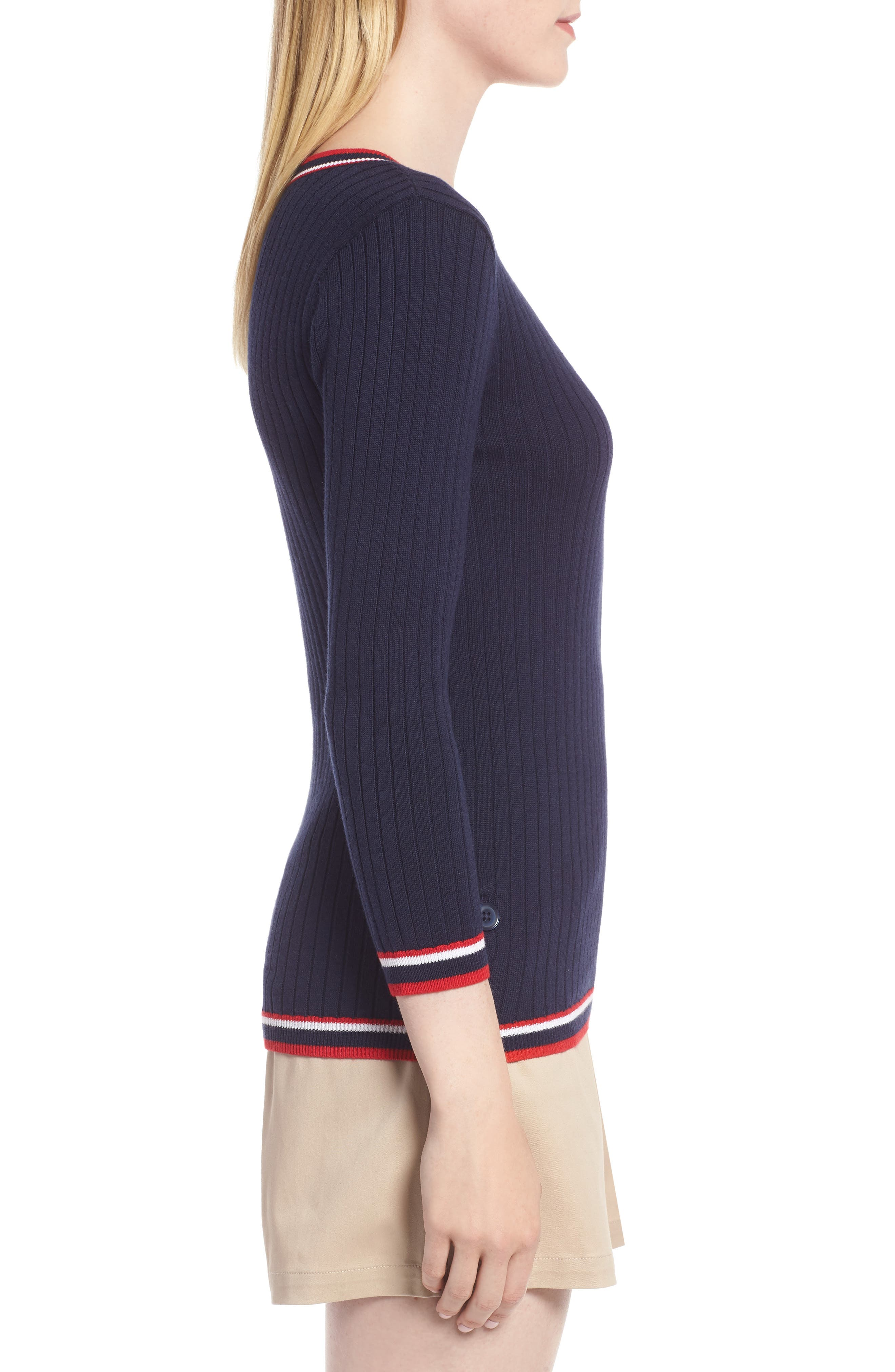 Tipped Cotton Blend Ribbed Sweater,                             Alternate thumbnail 3, color,                             Navy Peacoat
