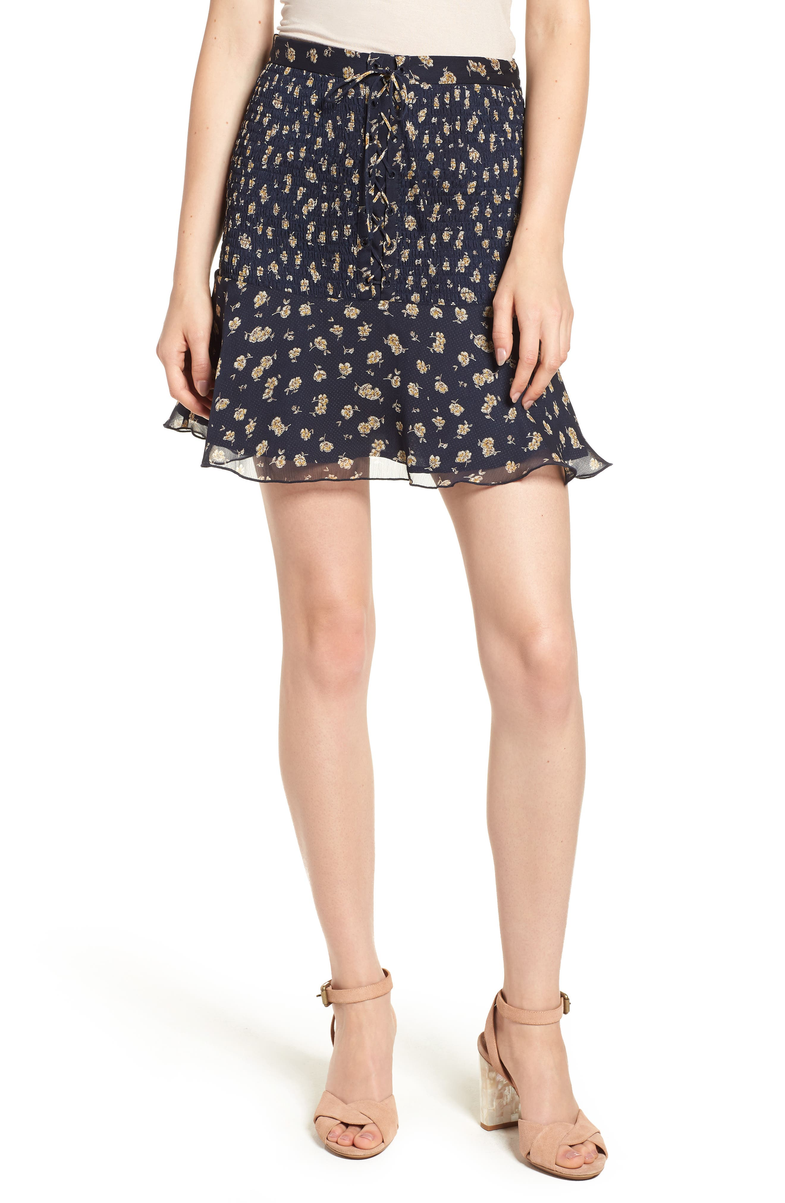 THE EAST ORDER NINA LACE-UP FLARED SKIRT