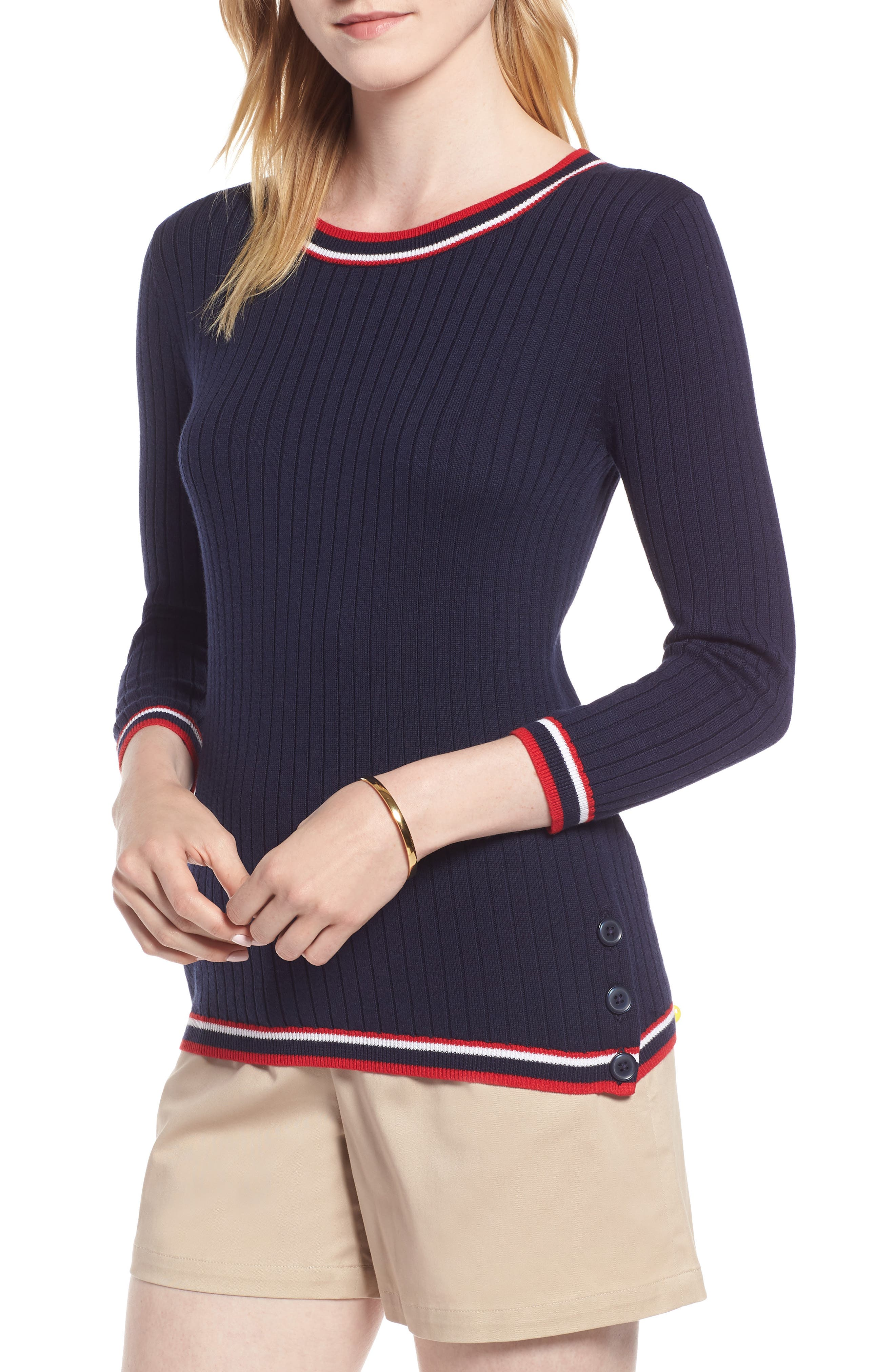 Tipped Cotton Blend Ribbed Sweater,                             Main thumbnail 1, color,                             Navy Peacoat