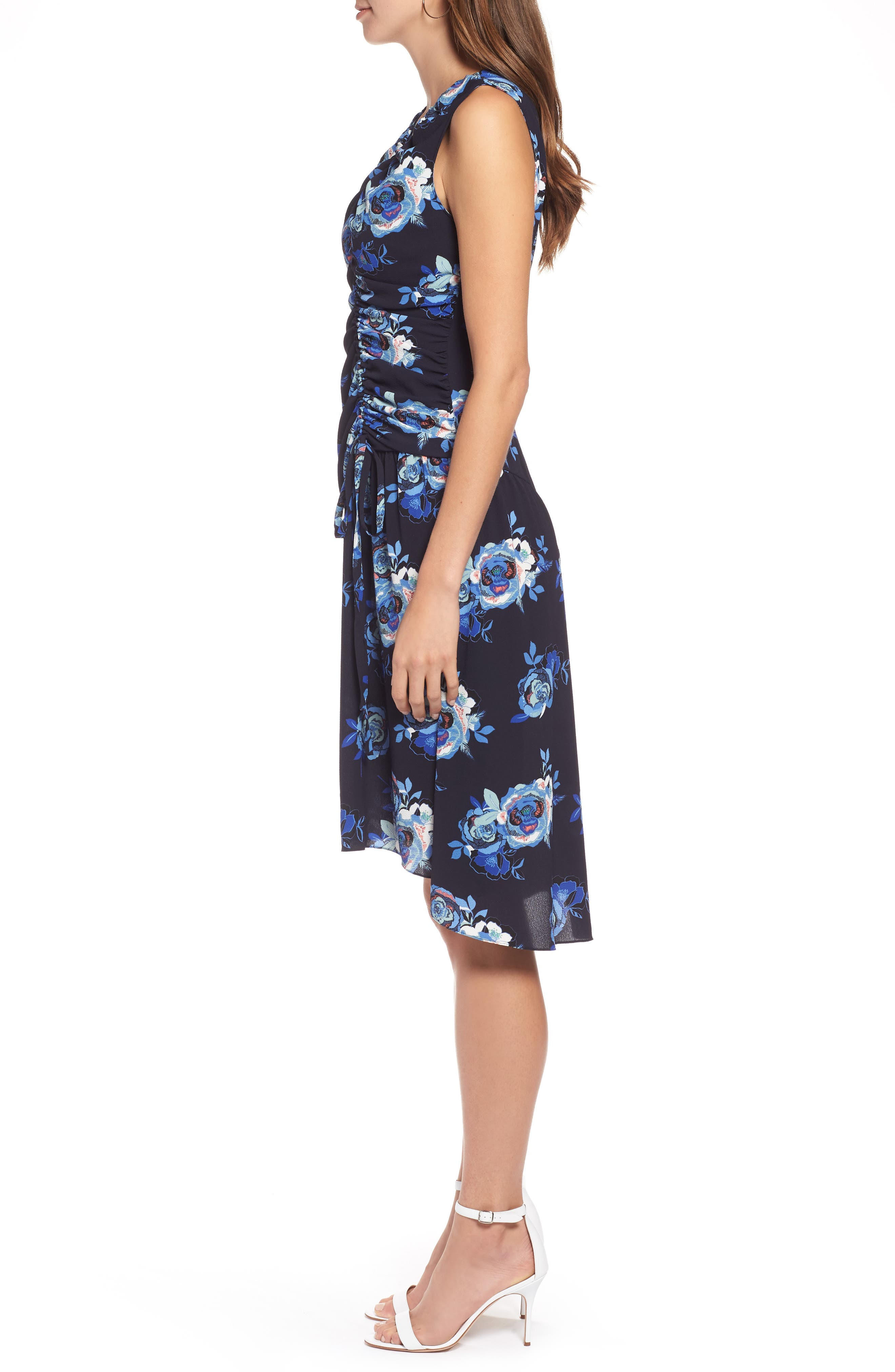 Sleeveless Ruched Dress,                             Alternate thumbnail 3, color,                             Navy- Blue Rose Print