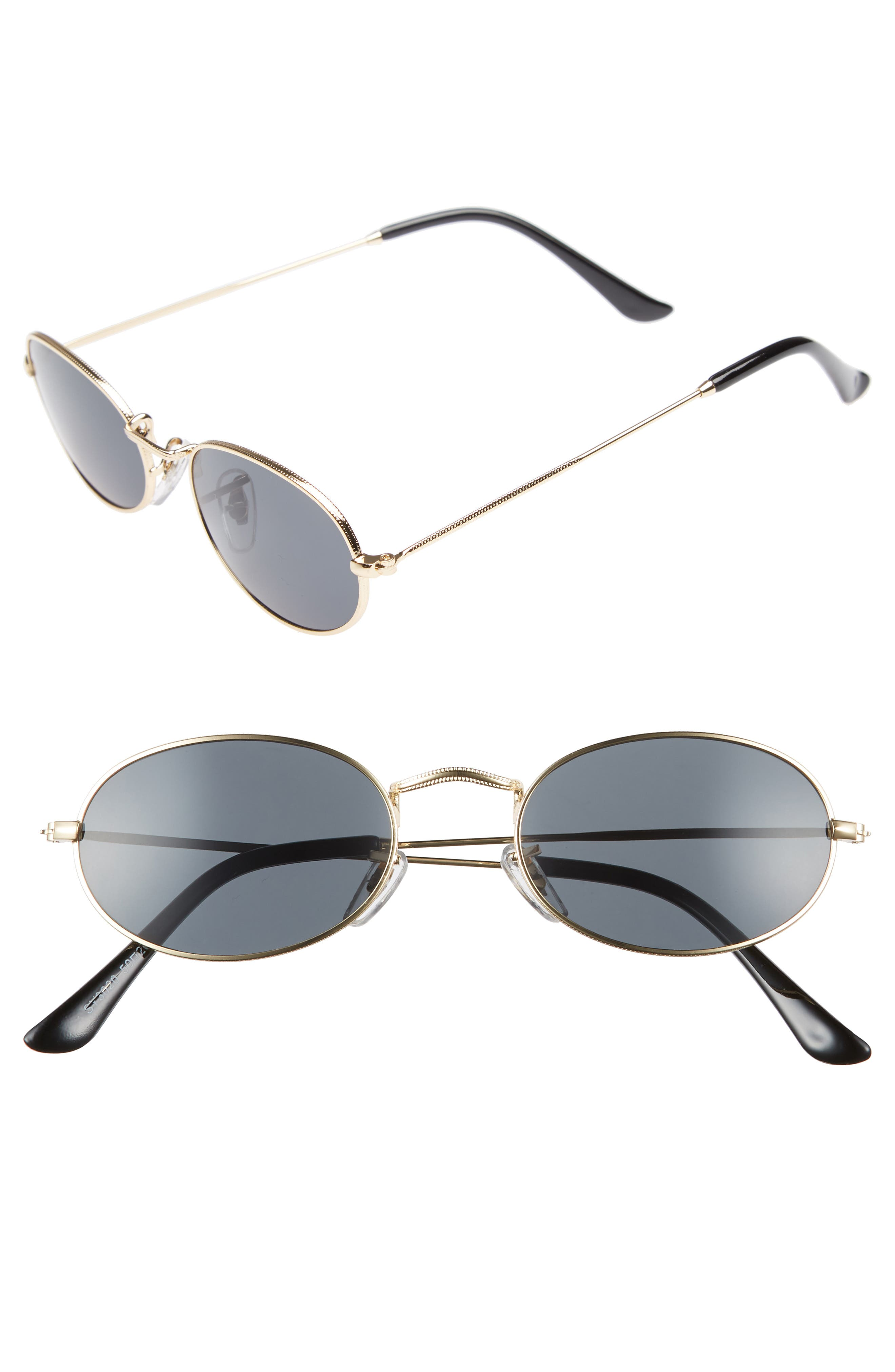 50mm Round Sunglasses,                         Main,                         color, Gold/ Black