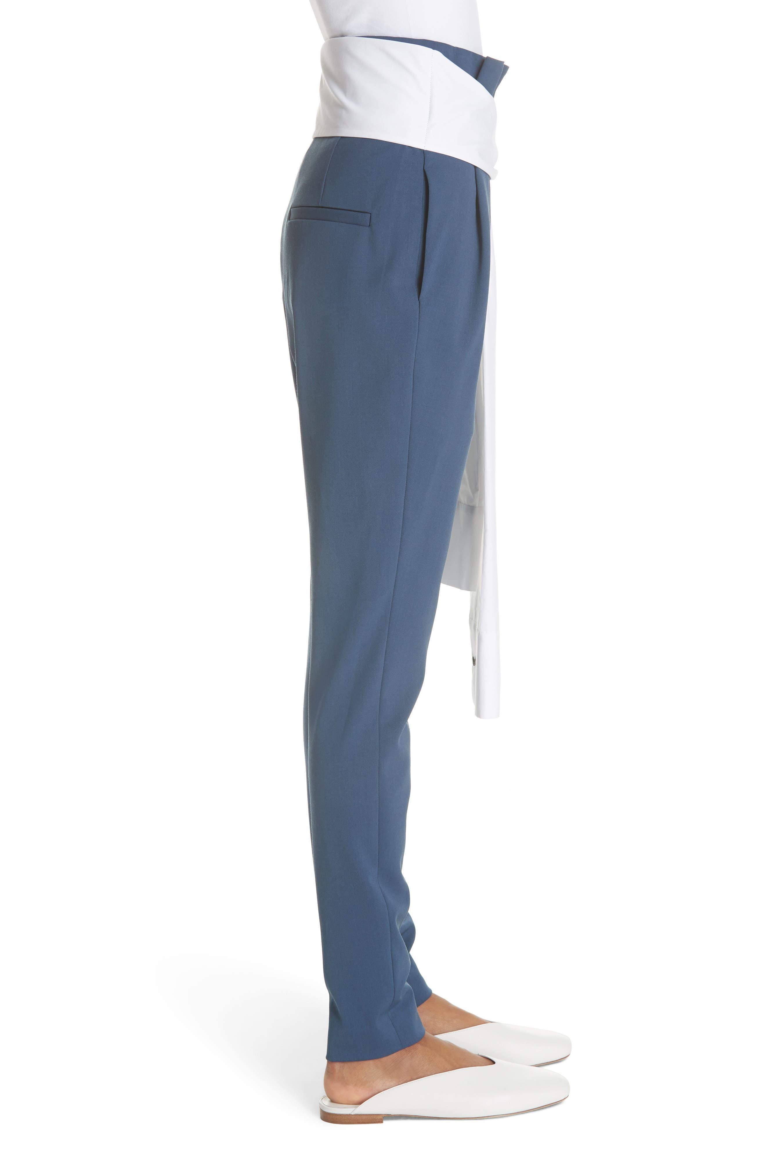 Tie Waist Paperbag Pants,                             Alternate thumbnail 3, color,                             Blue