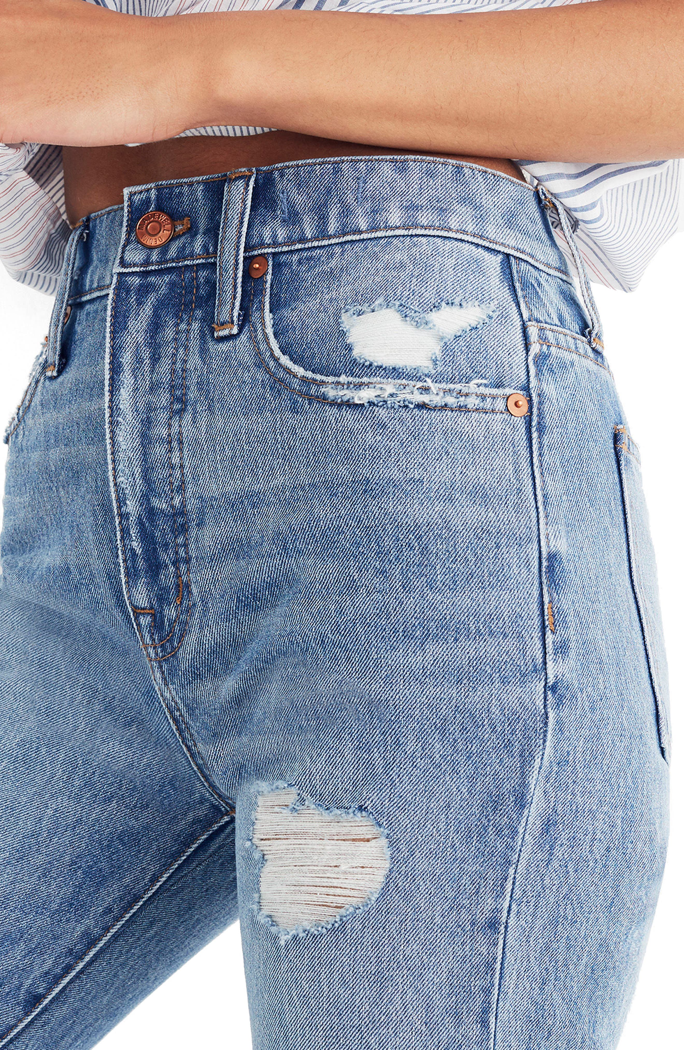 Classic Distressed Straight Leg Jeans,                             Alternate thumbnail 3, color,                             Tyler