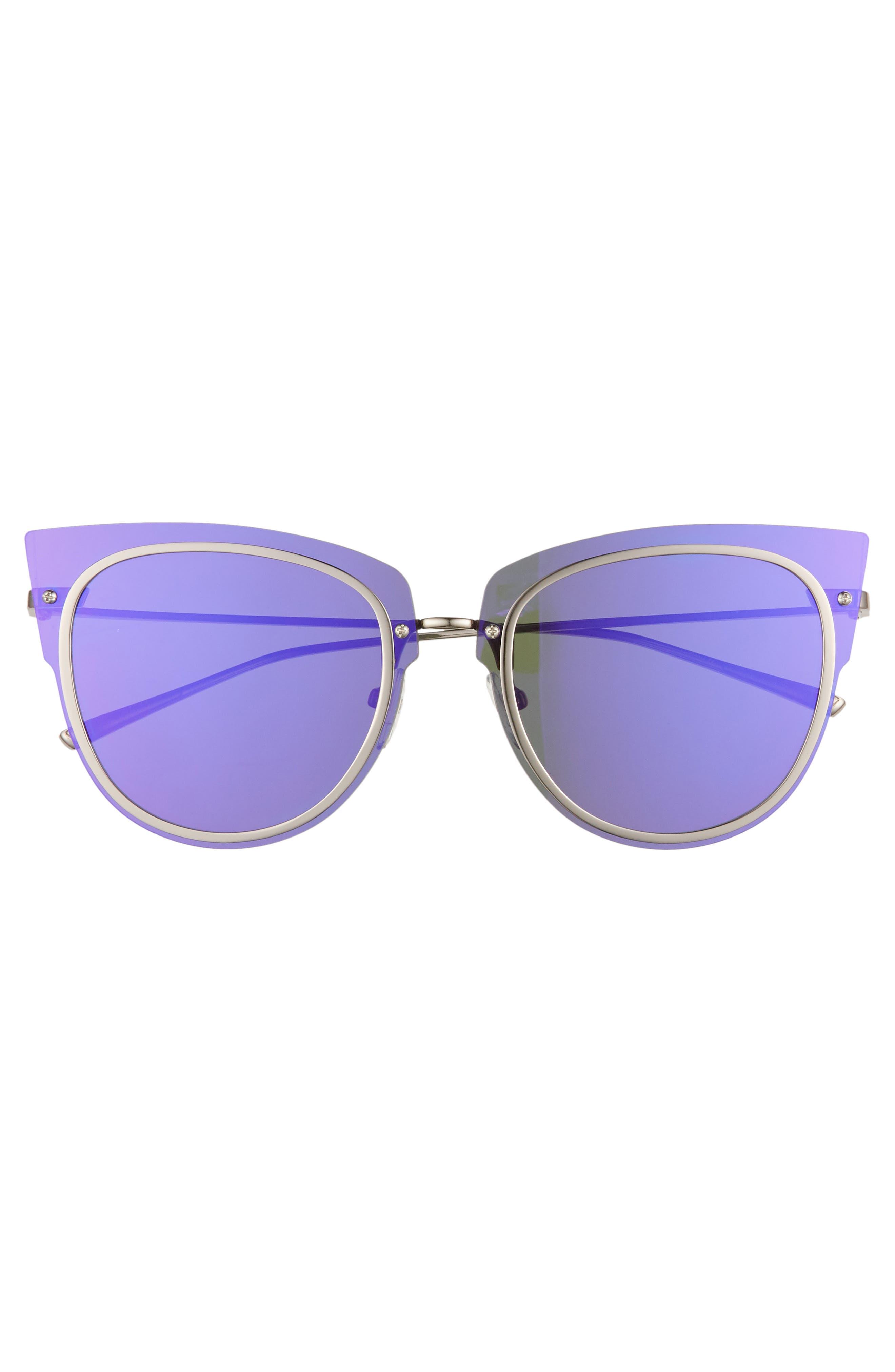 x Demi Lovato DEMI 50mm Rimless Cat Eye Sunglasses,                             Alternate thumbnail 3, color,                             Light Gunmetal/ Purple