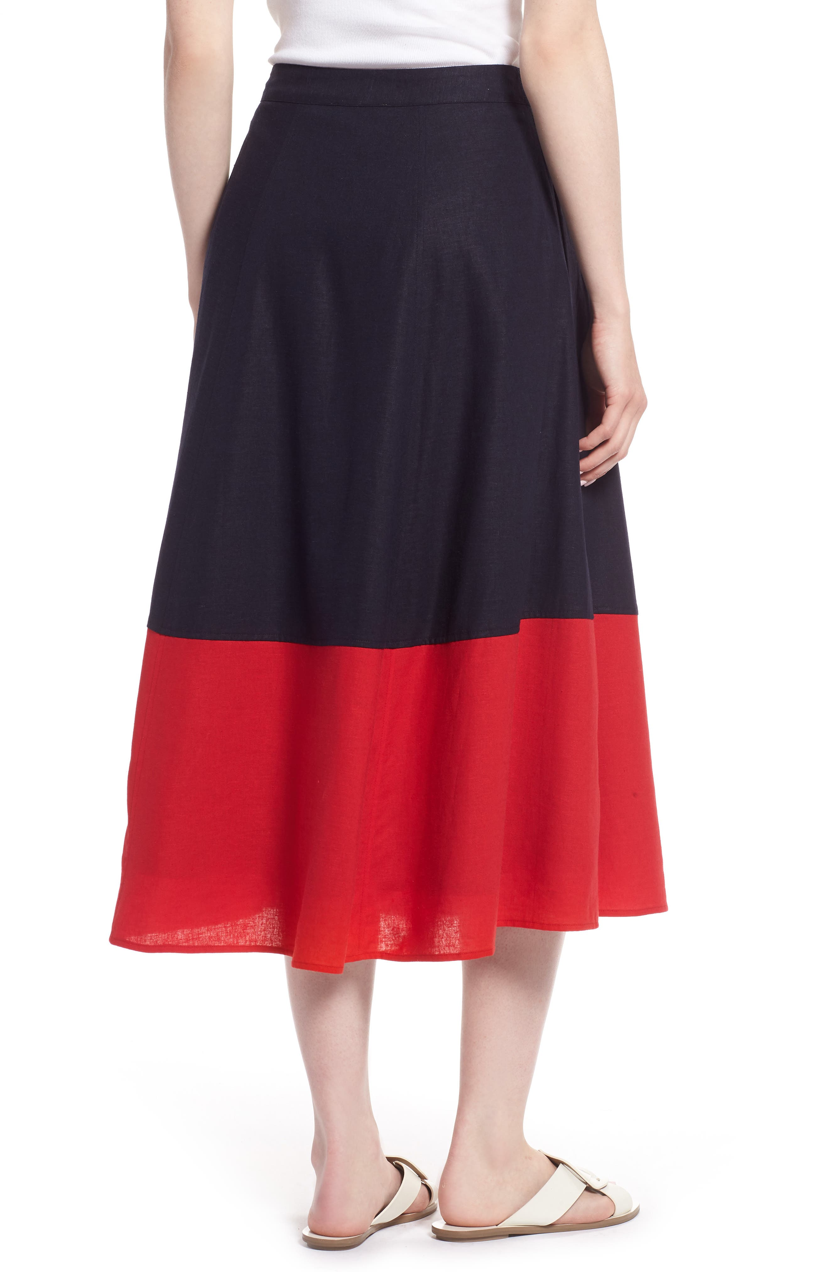 Colorblock Linen Blend Skirt,                             Alternate thumbnail 2, color,                             Navy- Red Colorblock