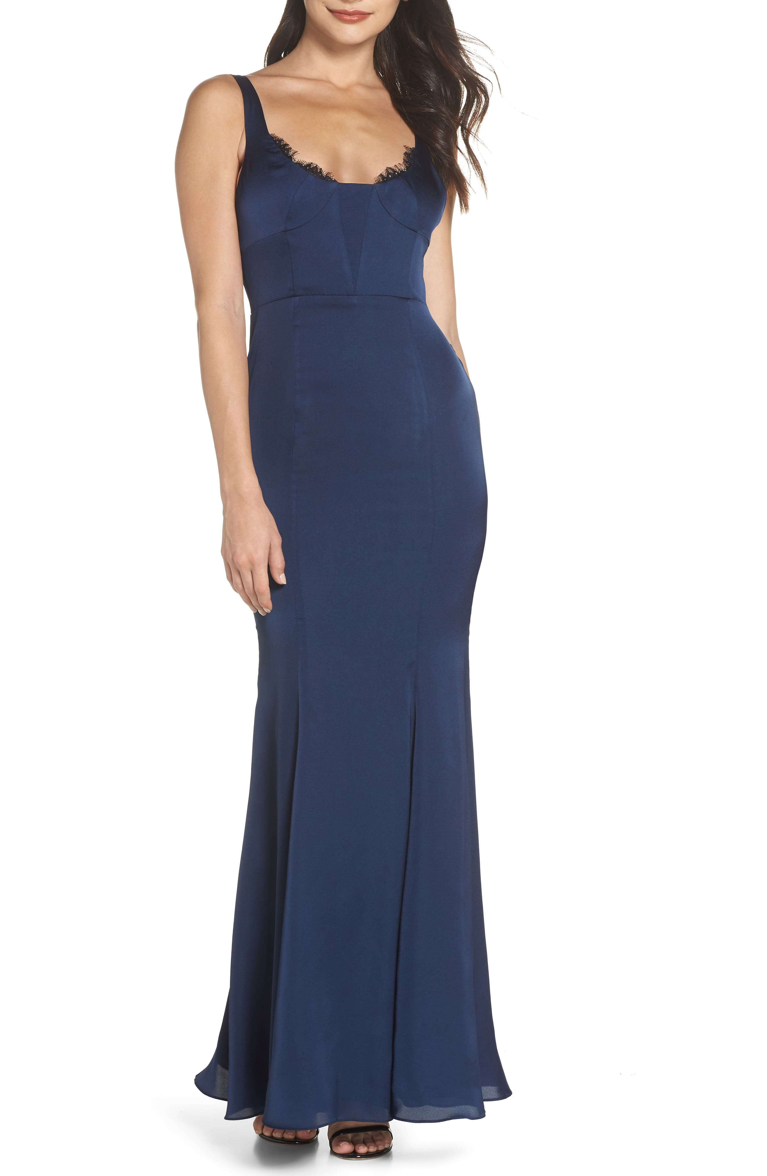 The Ara Trumpet Gown,                             Main thumbnail 1, color,                             Navy