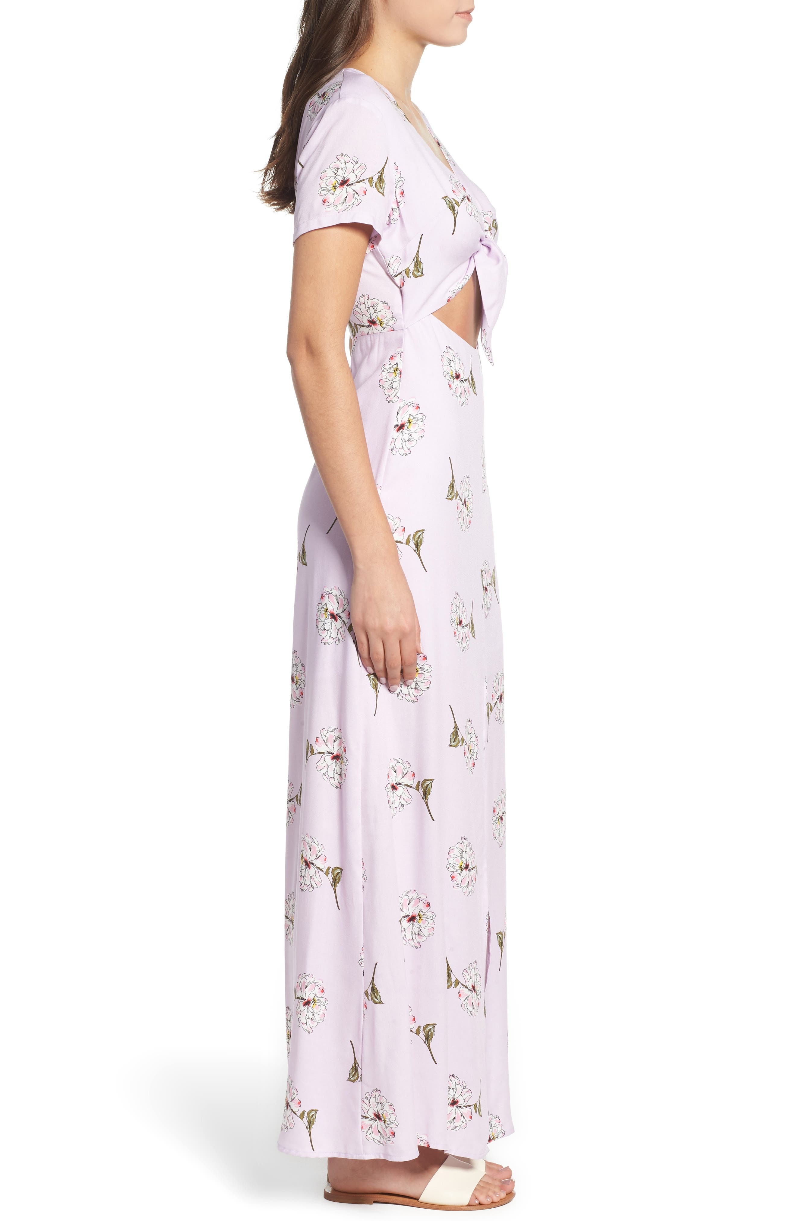 Cutout Tie Front Maxi Dress,                             Alternate thumbnail 3, color,                             Lavender Floral