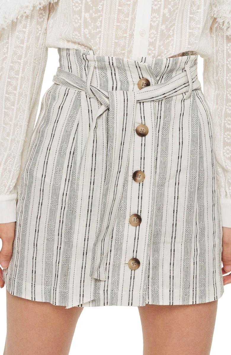 Stripe Paperbag Miniskirt