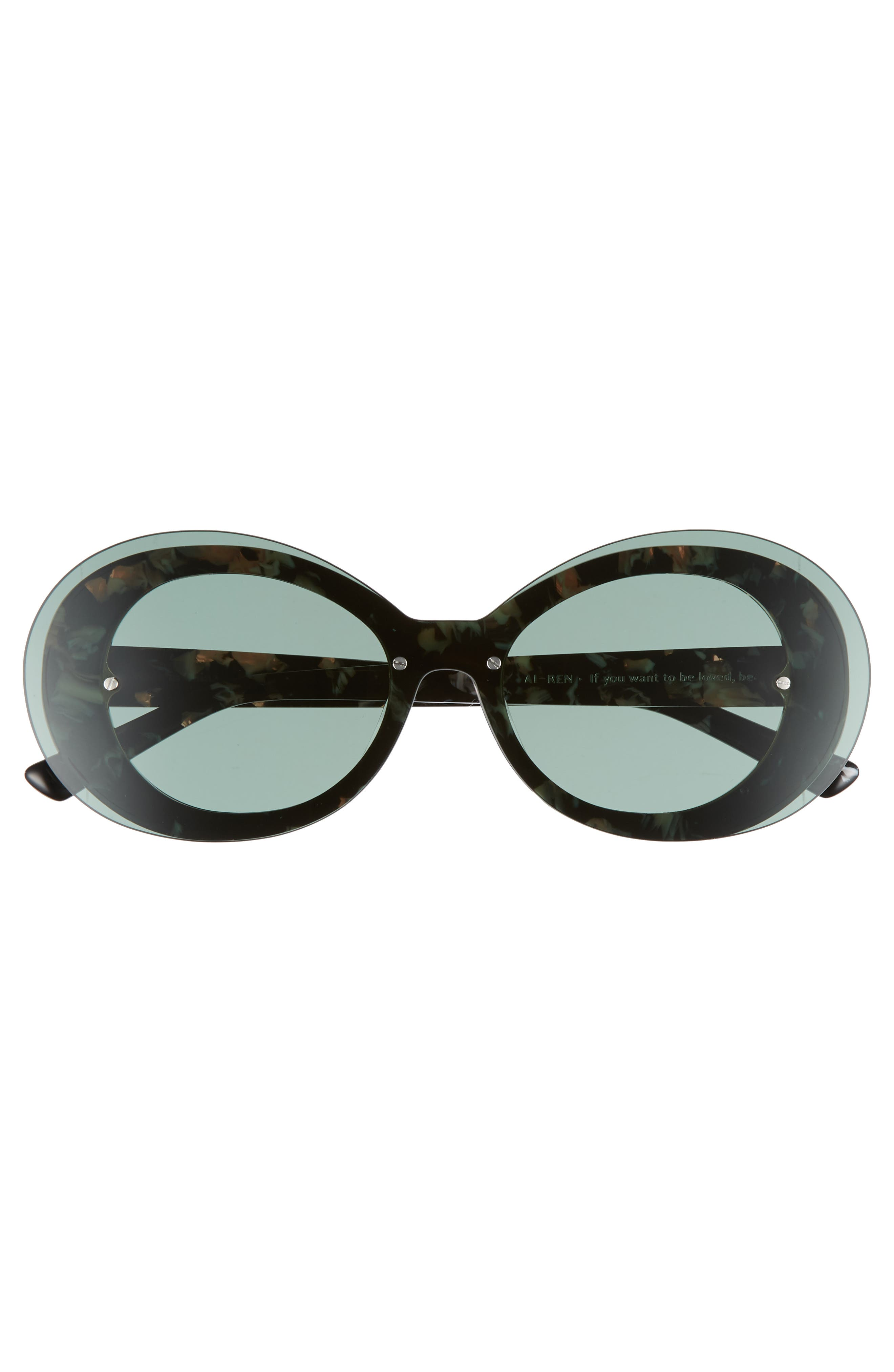 Ai-Ren 51mm Round Sunglasses,                             Alternate thumbnail 3, color,                             Marbled Olive
