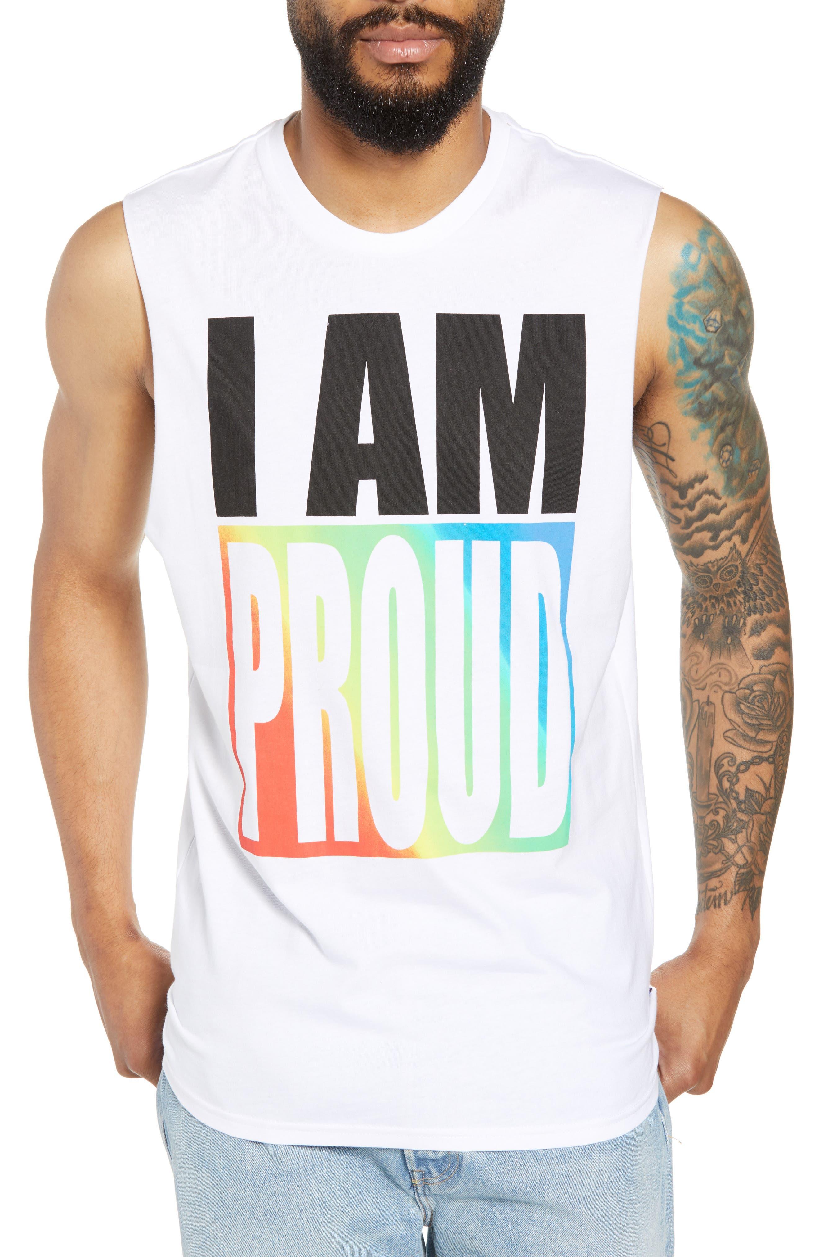 Community Sleeveless T-Shirt,                         Main,                         color, I Am Rainbow Gradient White