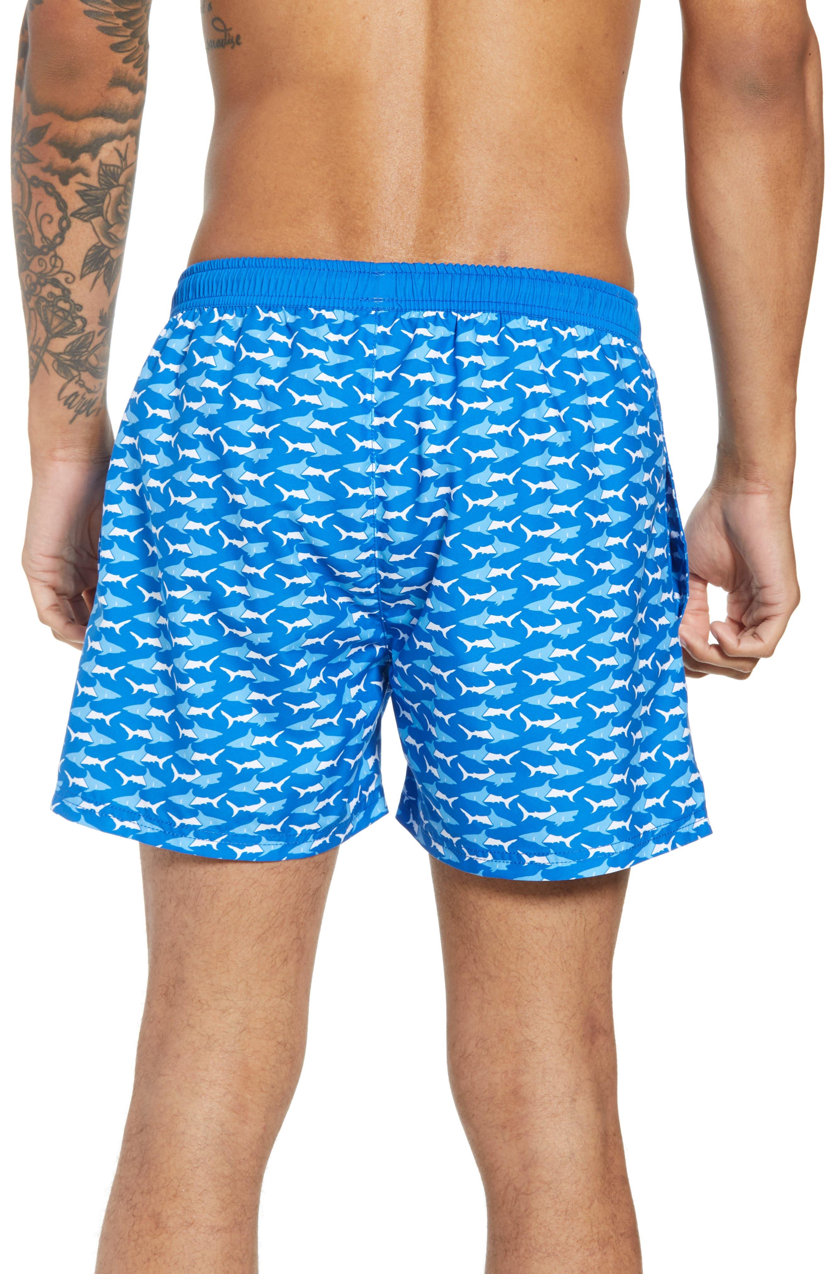 Piranha Shark Swim Trunks,                             Alternate thumbnail 2, color,                             Blue