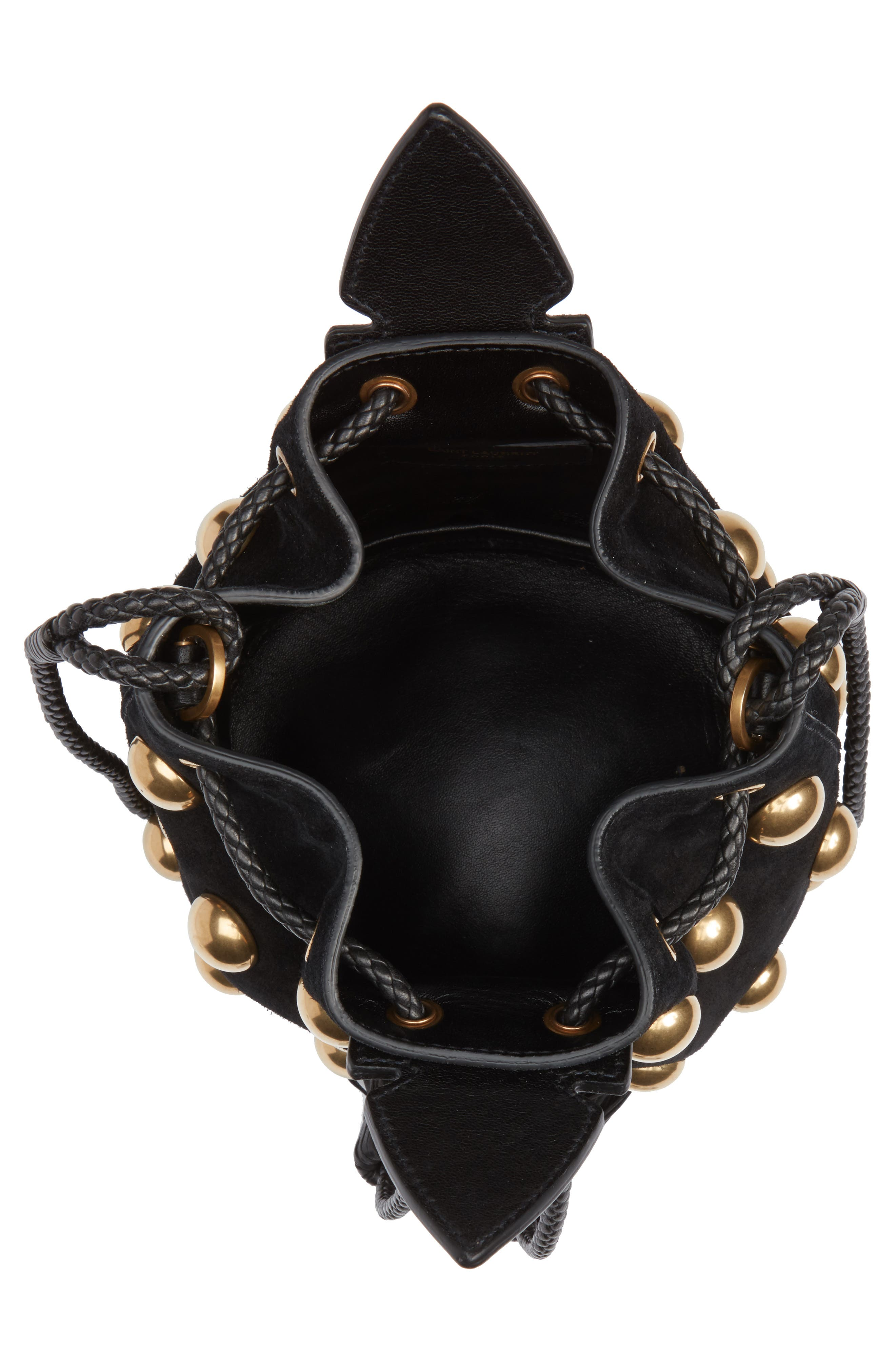 Small Anja Studded Leather Bucket Bag,                             Alternate thumbnail 4, color,                             Nero/ Nero