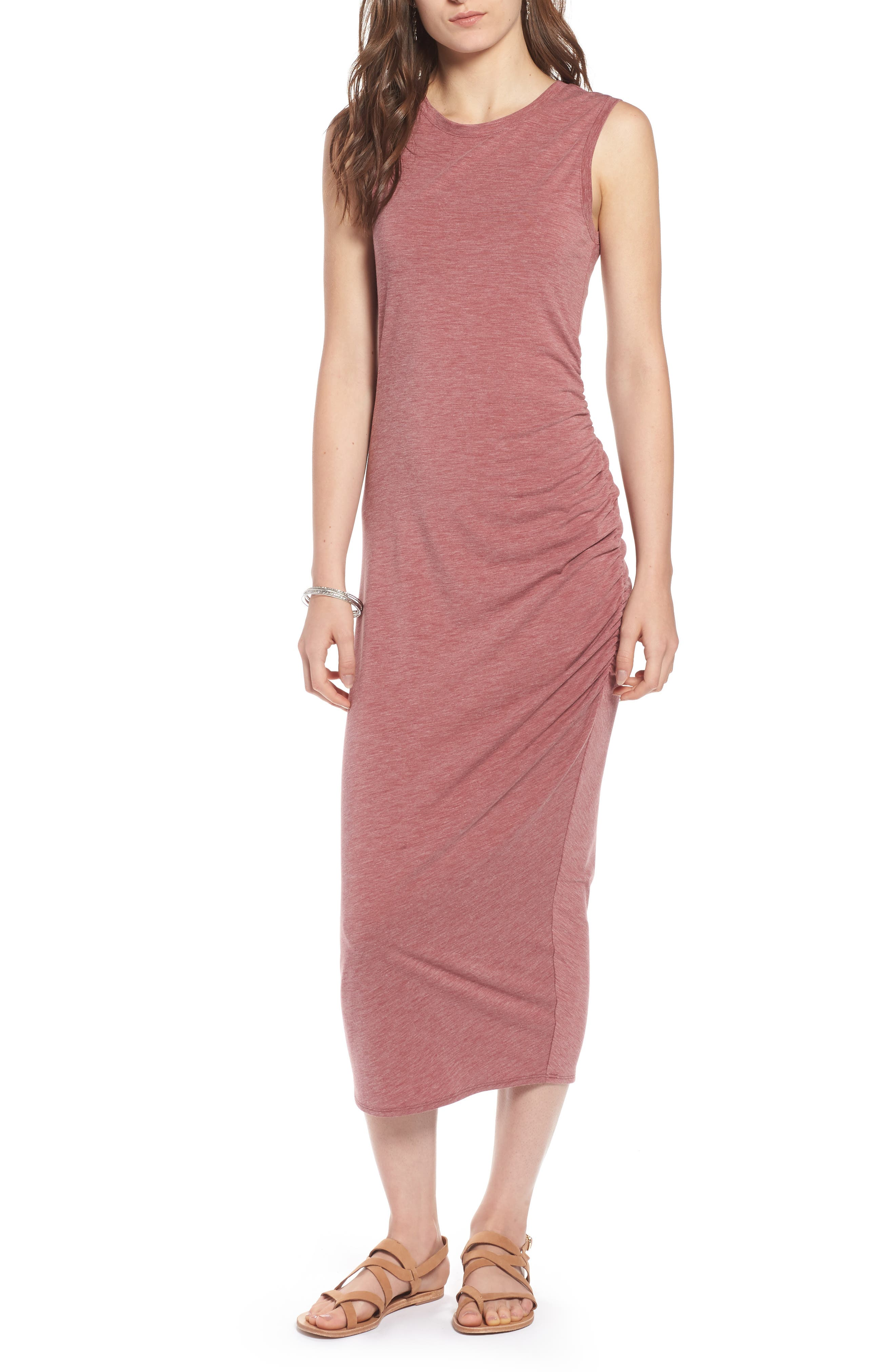 Sleeveless Side Ruched Dress,                         Main,                         color, Burgundy Rouge Heather