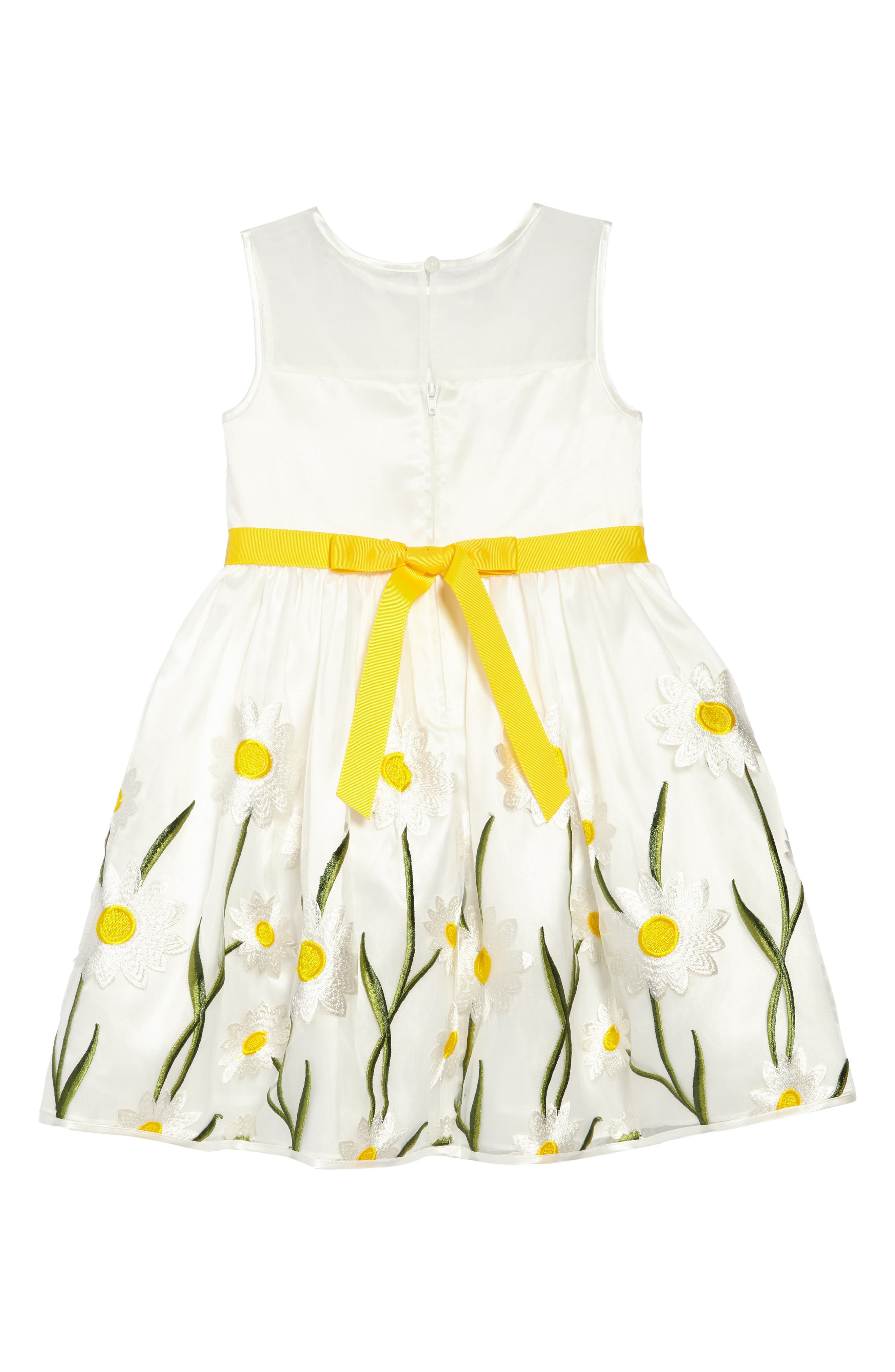 Embroidered Daisy Fit & Flare Dress,                             Alternate thumbnail 2, color,                             White