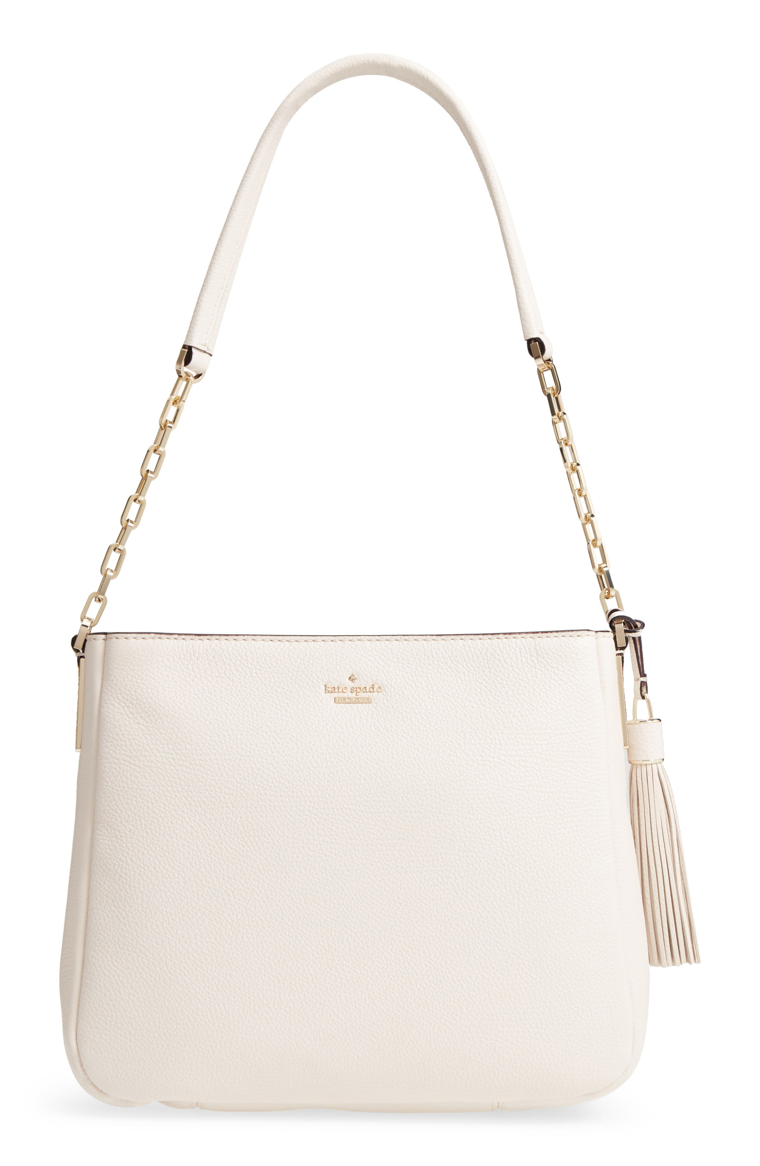 kingston drive - shannon leather shoulder bag,                         Main,                         color, Bleach Bone