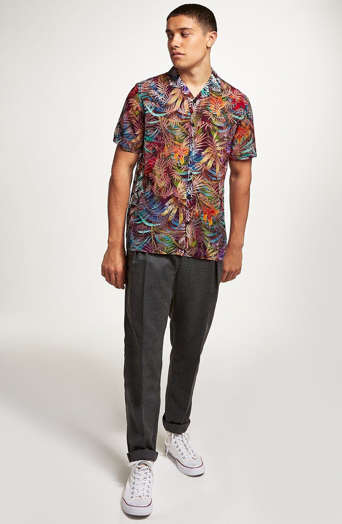 Rainbow Palm Print Shirt,                             Alternate thumbnail 4, color,                             Red Multi