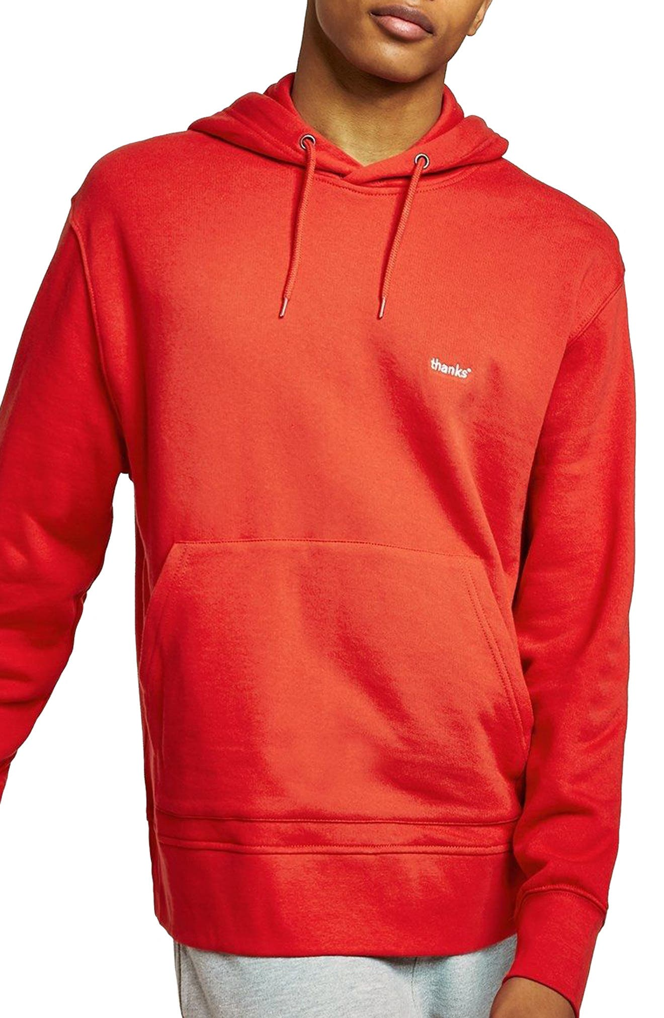 Classic Fit Tristan Thanks Embroidered Hoodie,                         Main,                         color, Red Multi