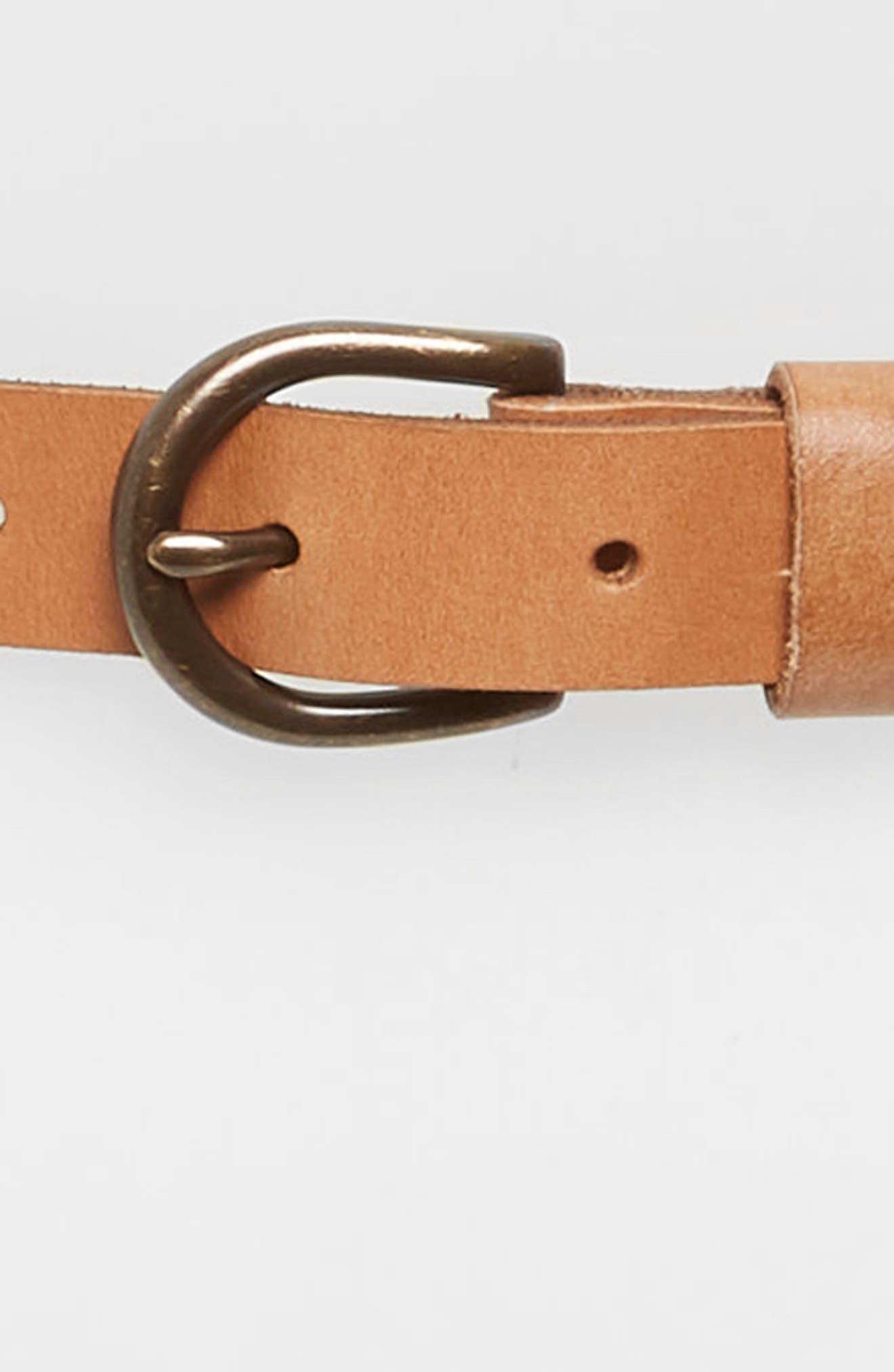 Laced Skinny Belt,                             Alternate thumbnail 3, color,                             Cognac