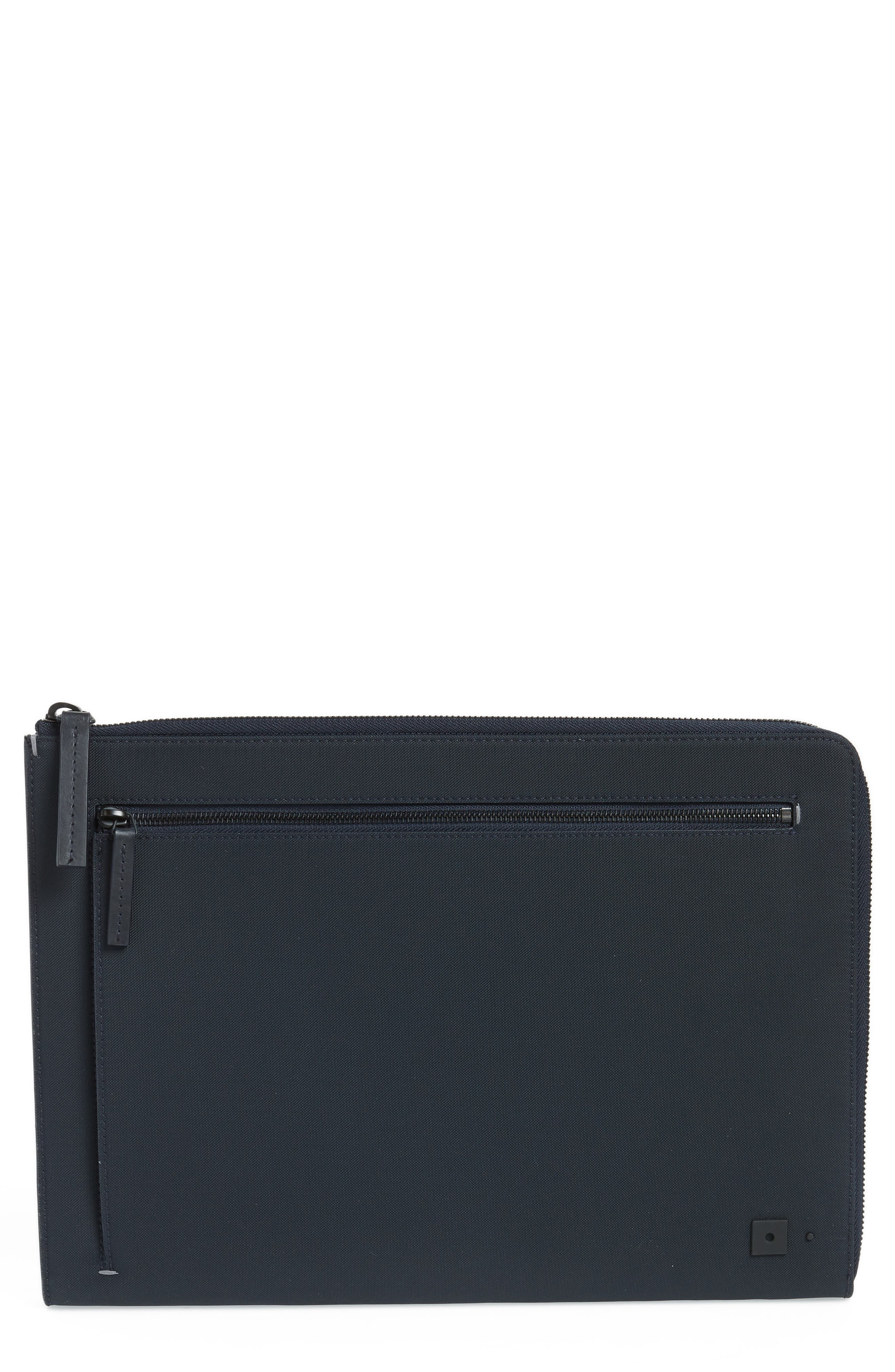 TROUBADOUR Portfolio Case - Blue in Navy Nylon/ Navy Leather