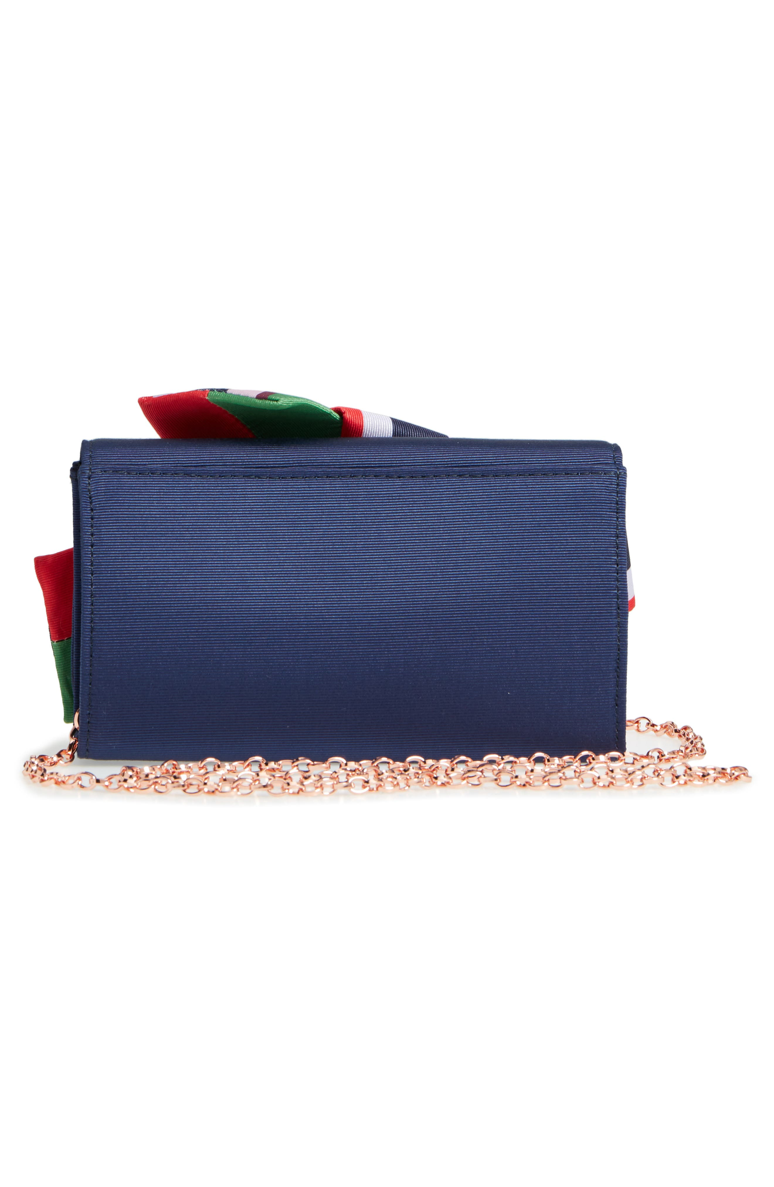 Bay of Hon Knotted Bow Clutch,                             Alternate thumbnail 3, color,                             Navy