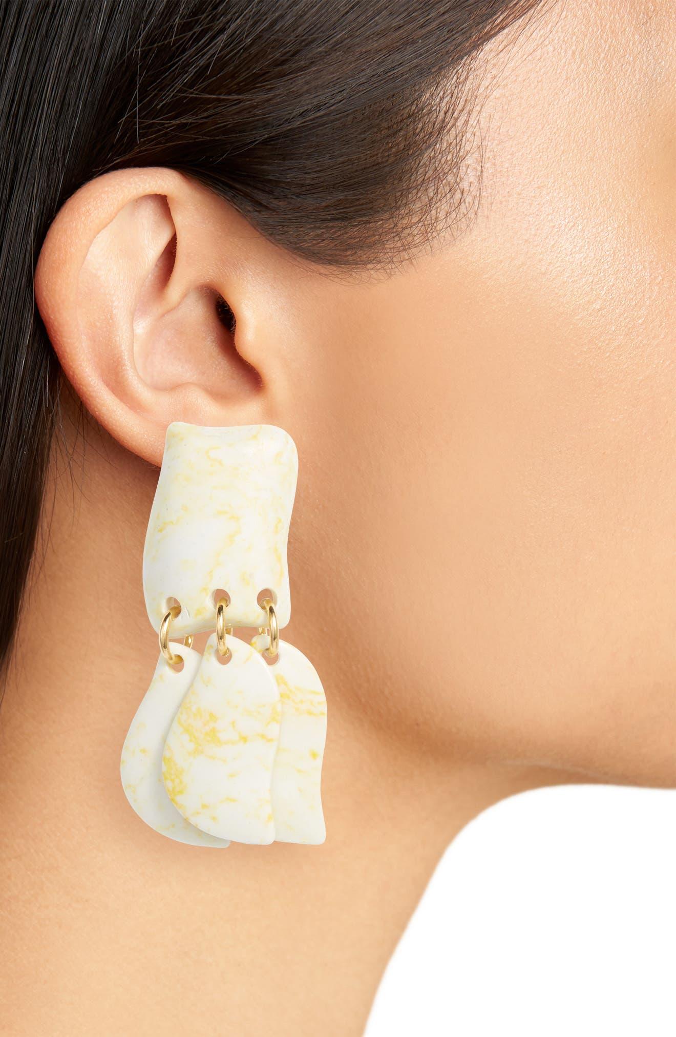 Iris Petal Drop Earrings,                             Alternate thumbnail 2, color,                             Bone