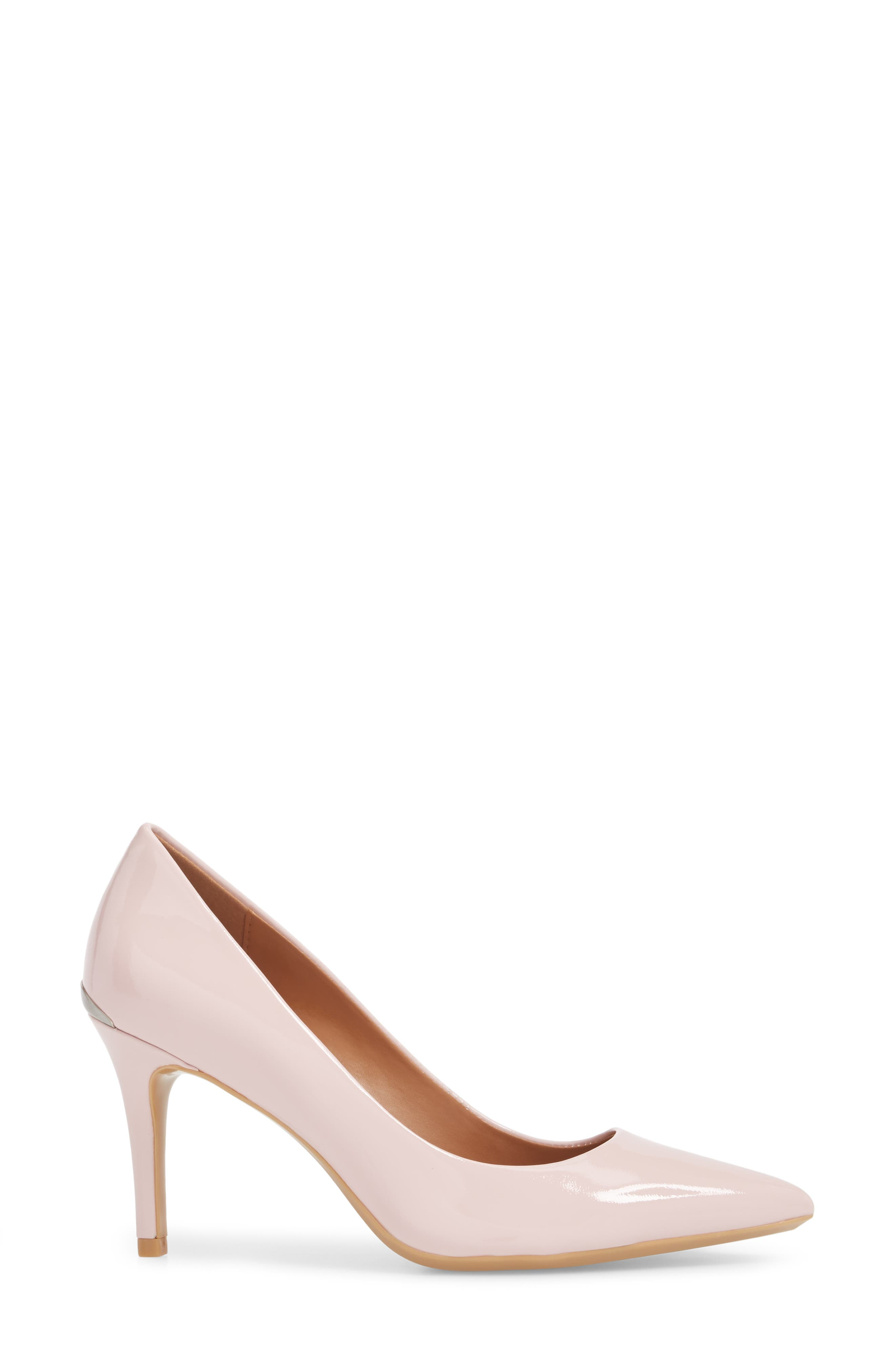'Gayle' Pointy Toe Pump,                             Alternate thumbnail 3, color,                             Petal Pink Leather