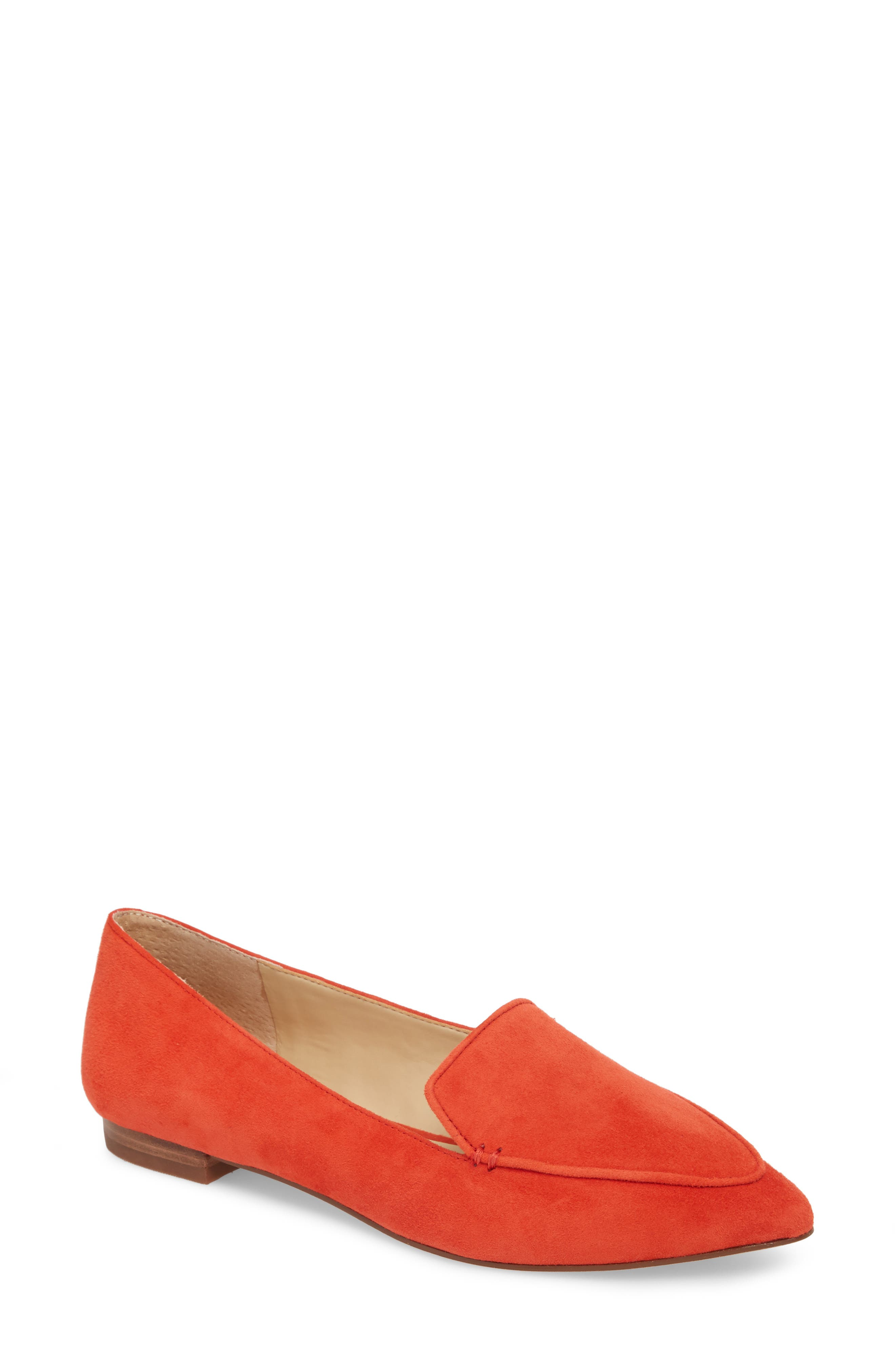 'Cammila' Pointy Toe Loafer,                         Main,                         color, Deep Coral