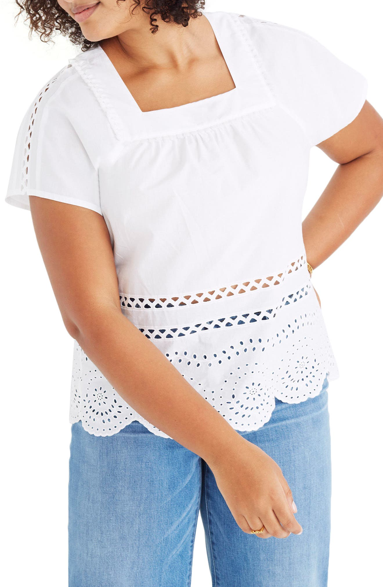 Angelica Eyelet Top,                         Main,                         color, Eyelet White