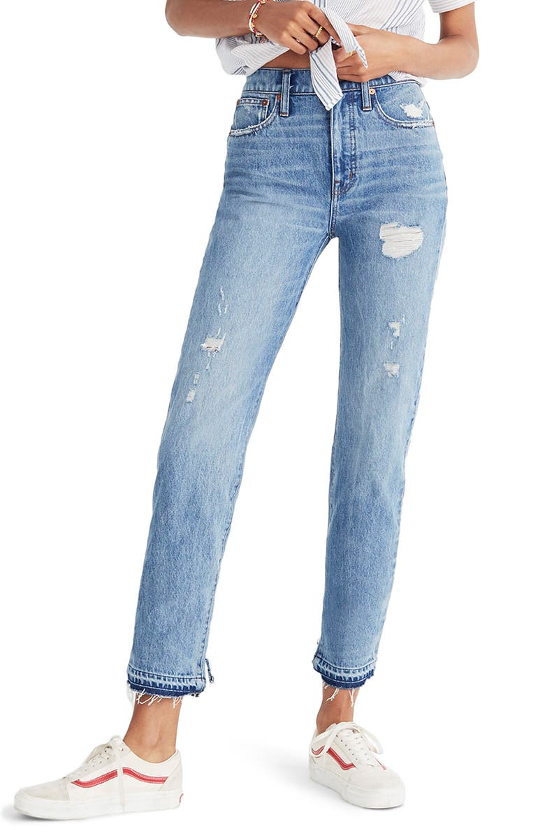 Classic Distressed Straight Leg Jeans