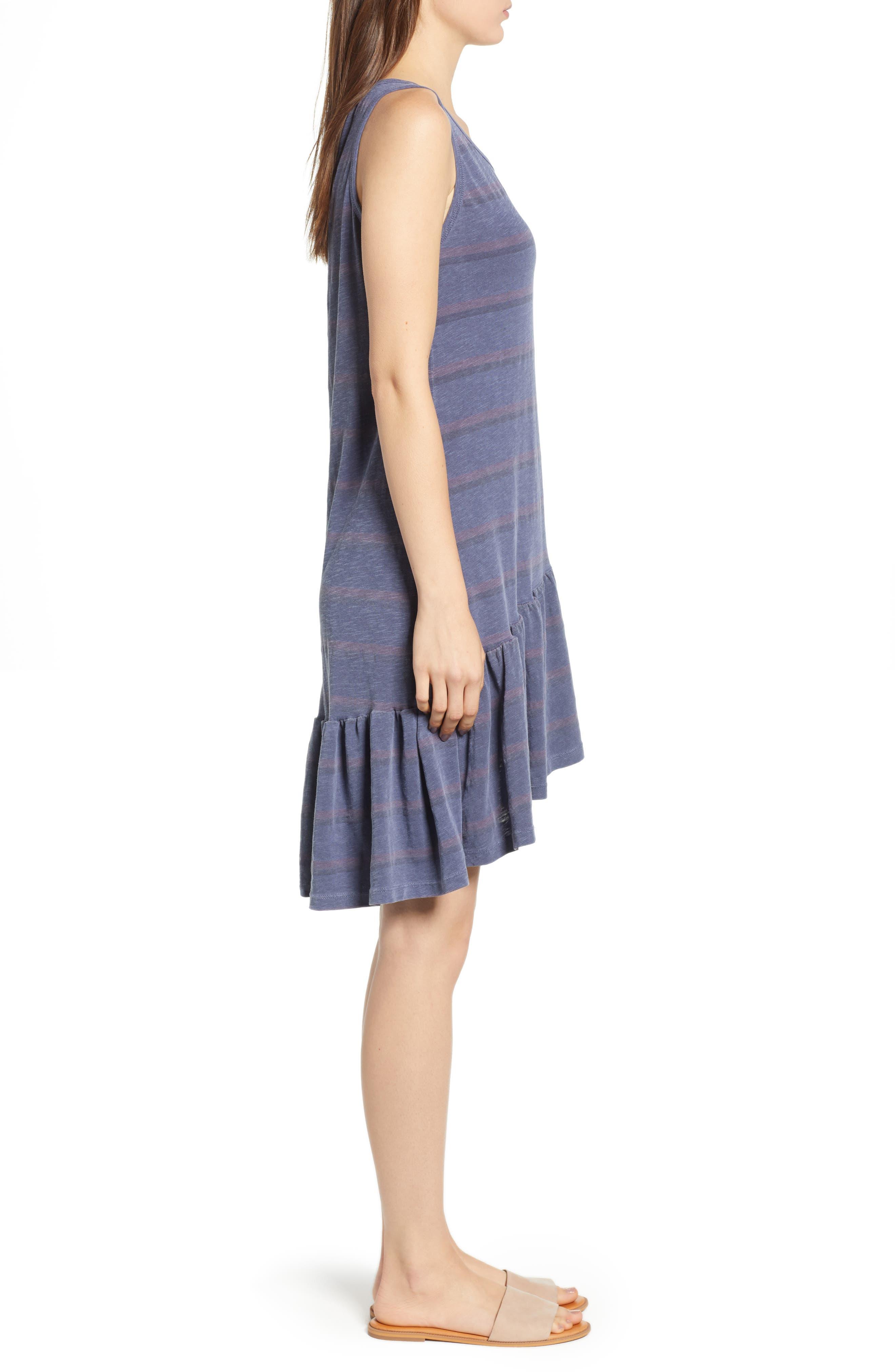 Ruffle Tank Dress,                             Alternate thumbnail 3, color,                             Pigment Navy
