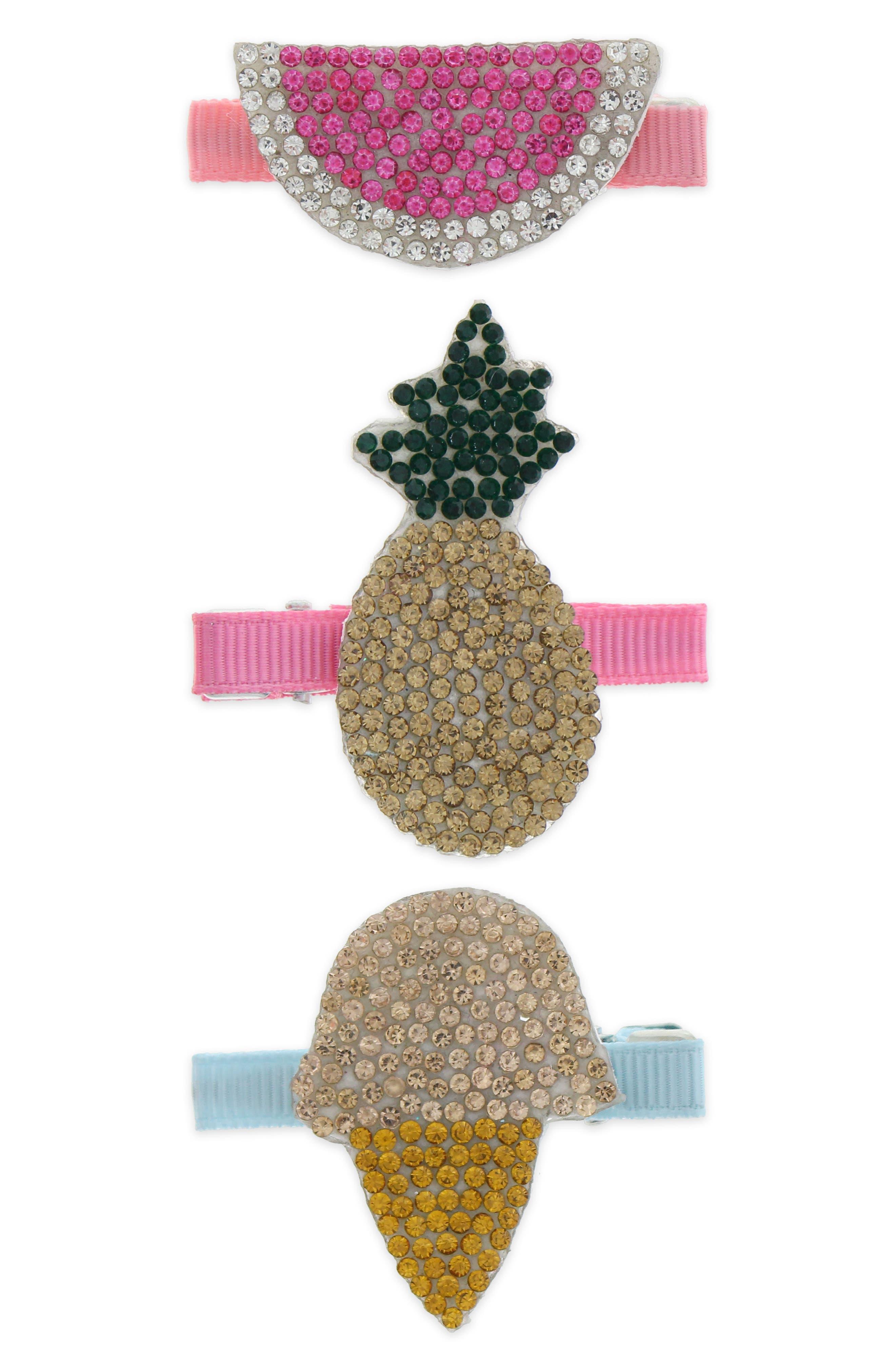 Set of 3 Crystal Embellished Hair Clips,                             Main thumbnail 1, color,                             Pink Combo