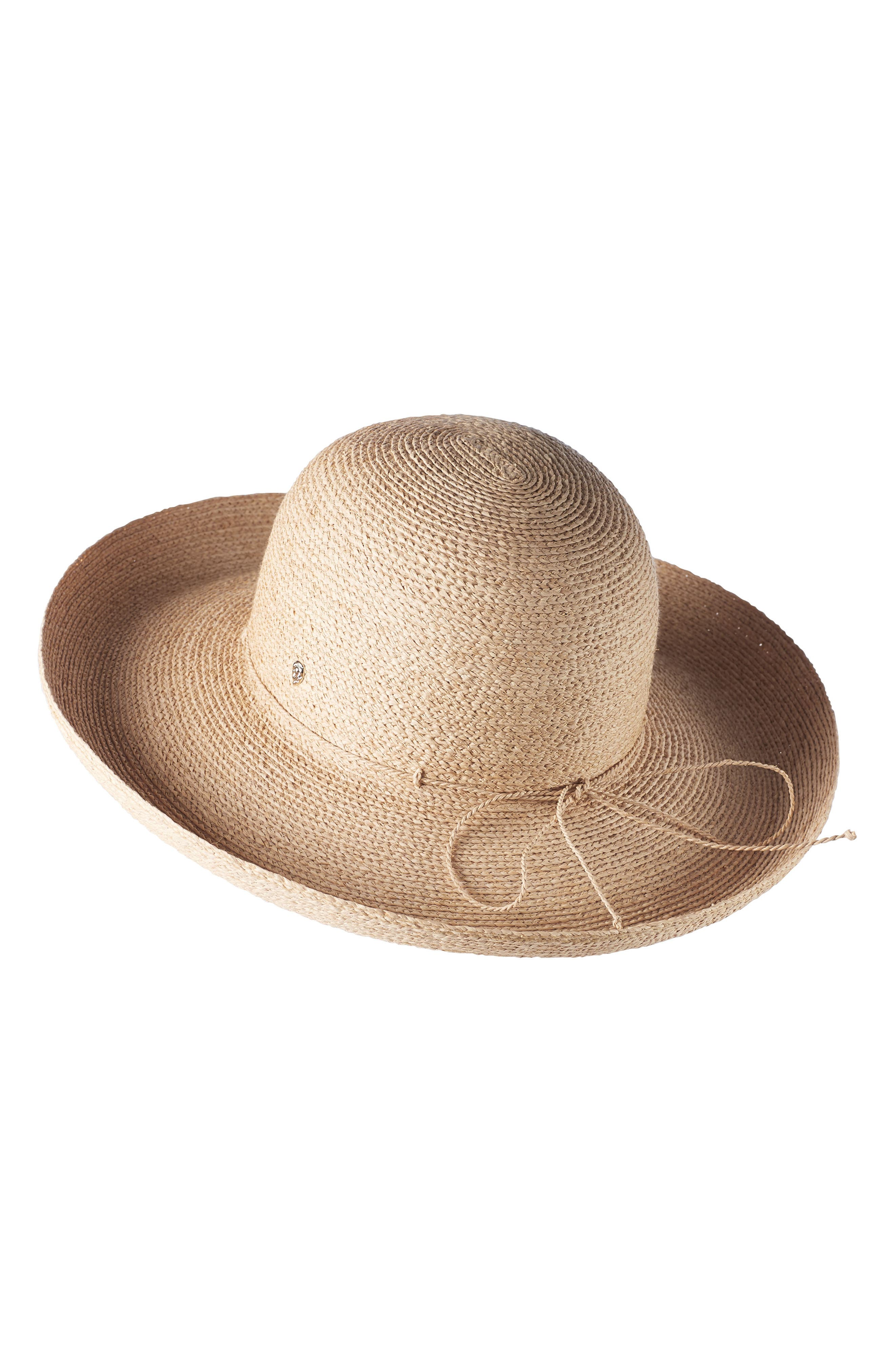 Rolled Brim Raffia Hat,                             Main thumbnail 1, color,                             Natural